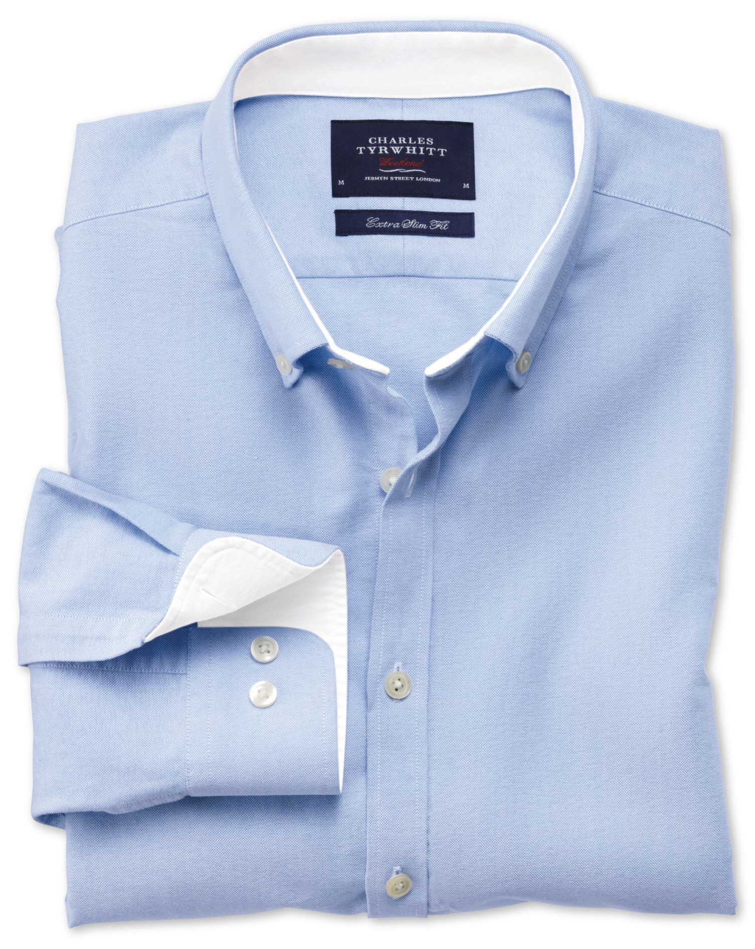 Extra Slim Fit Sky Blue Washed Oxford Cotton Shirt Single Cuff Size Large by Charles Tyrwhitt