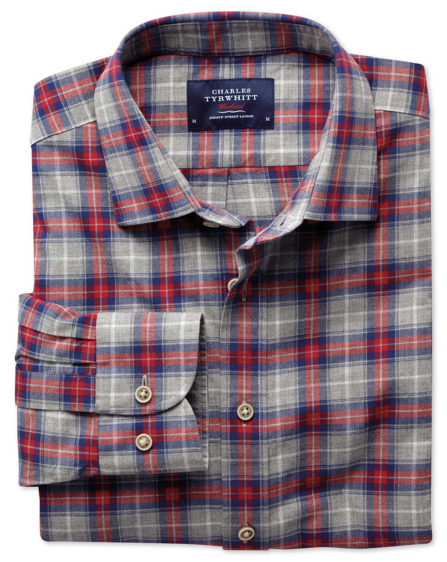 Slim Fit Red and Grey Check Heather Cotton Shirt Single Cuff Size Medium by Charles Tyrwhitt