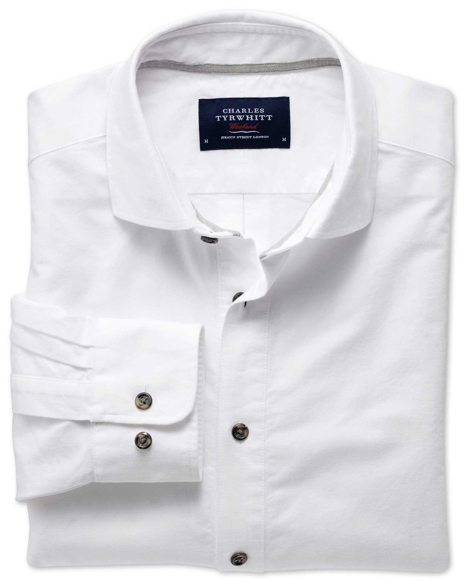 Slim Fit Cutaway Collar Popover White Cotton Shirt Single Cuff Size XS by Charles Tyrwhitt