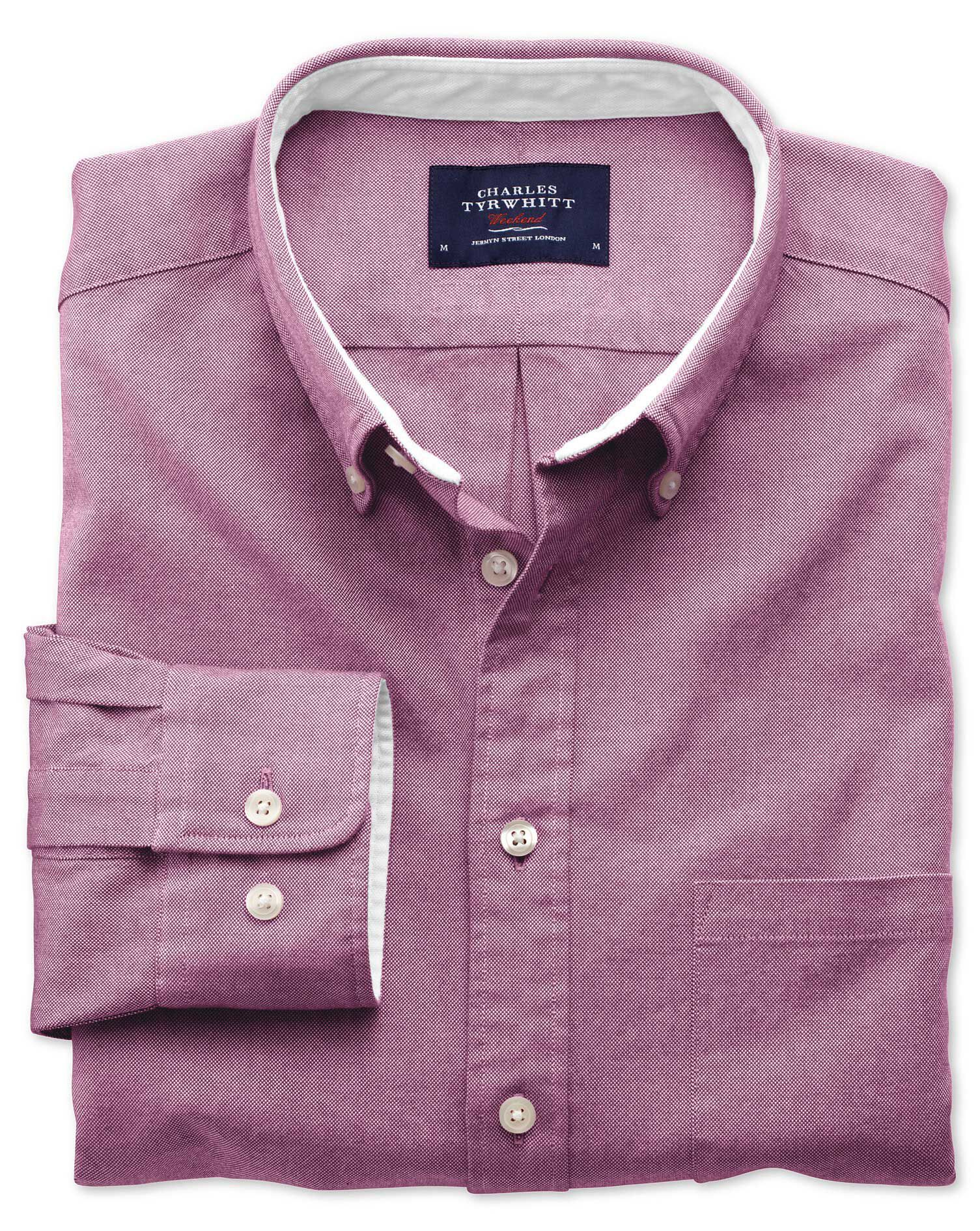 Classic Fit Berry Plain Washed Oxford Cotton Shirt Single Cuff Size Large by Charles Tyrwhitt