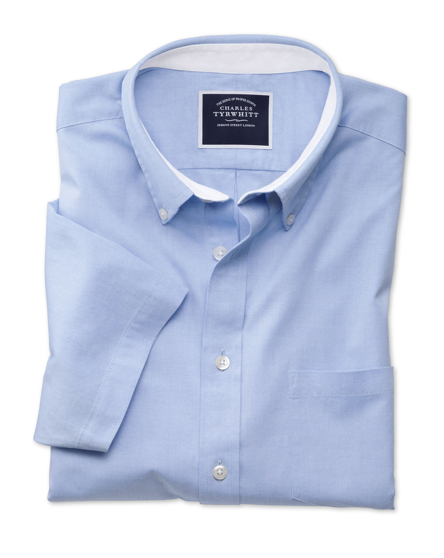 Classic Fit Button-Down Washed Oxford Short Sleeve Sky Blue Cotton Shirt Single Cuff Size XXXL by Ch