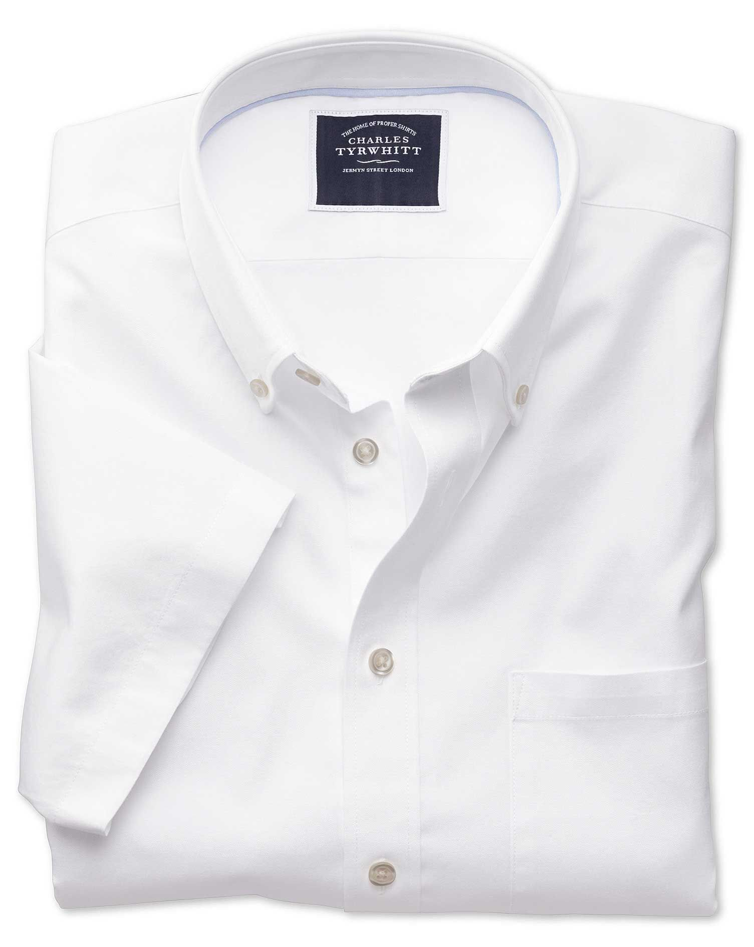 Classic Fit Button-Down Washed Oxford Short Sleeve White Cotton Shirt Single Cuff Size XXXL by Charl