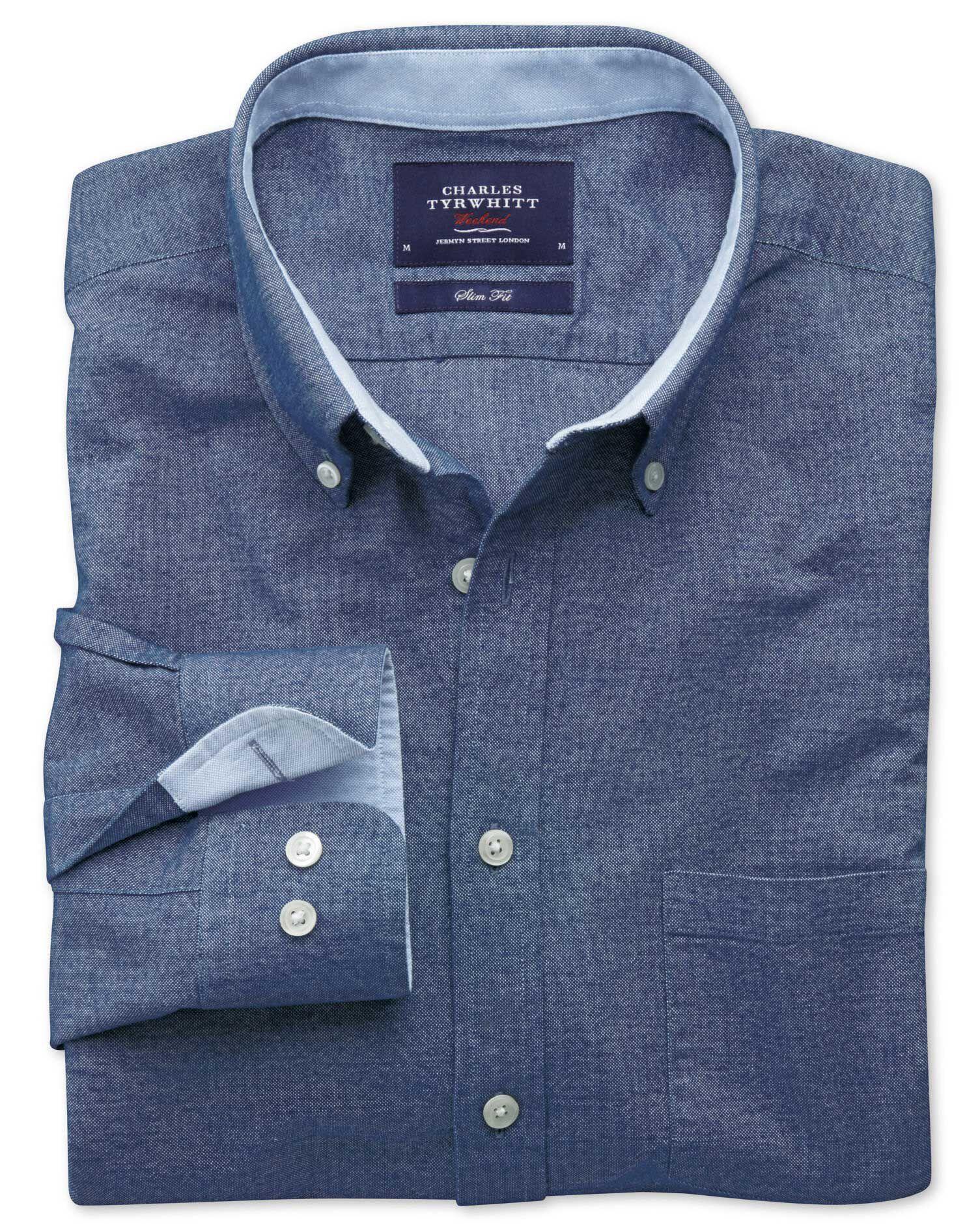 Slim Fit Blue Washed Oxford Cotton Shirt Single Cuff Size XXL by Charles Tyrwhitt