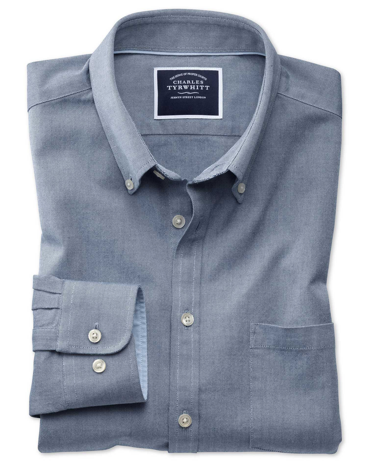 Slim Fit Button-Down Washed Oxford Plain Indigo Blue Cotton Shirt Single Cuff Size Small by Charles