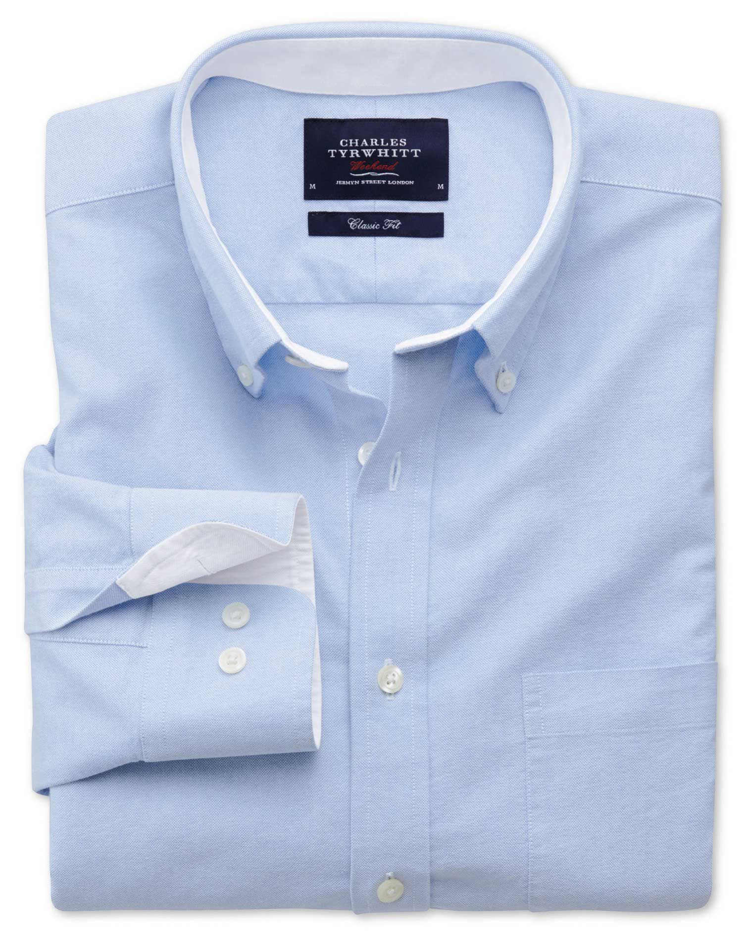 Slim Fit Sky Blue Washed Oxford Cotton Shirt Single Cuff Size XS by Charles Tyrwhitt