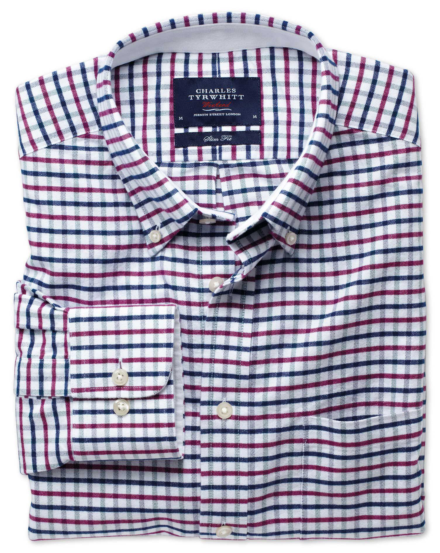 Slim Fit Navy and Berry Tattersall Washed Oxford Cotton Shirt Single Cuff Size Large by Charles Tyrw
