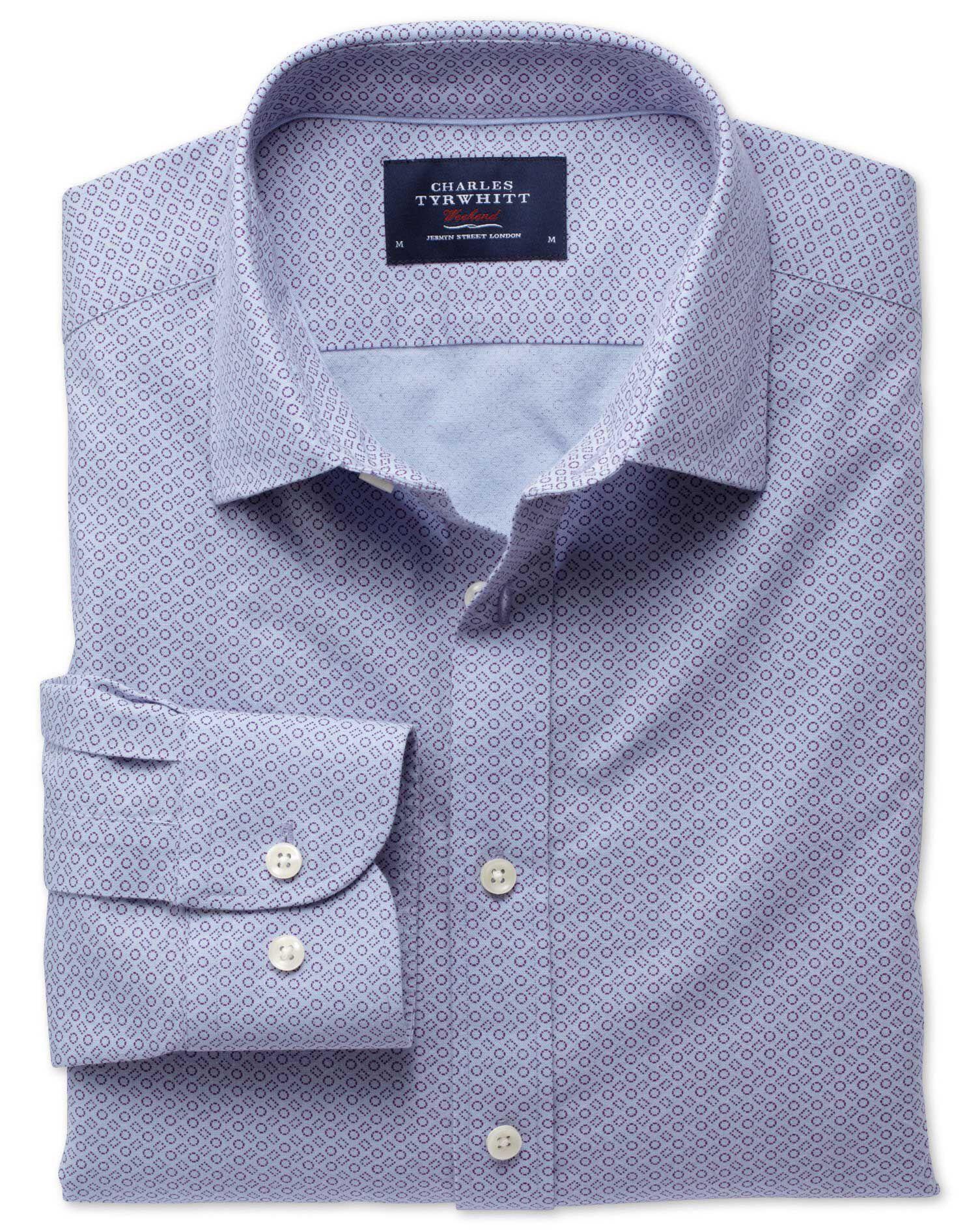 Classic Fit Sky Blue and Purple Geometric Print Cotton Shirt Single Cuff Size Medium by Charles Tyrw