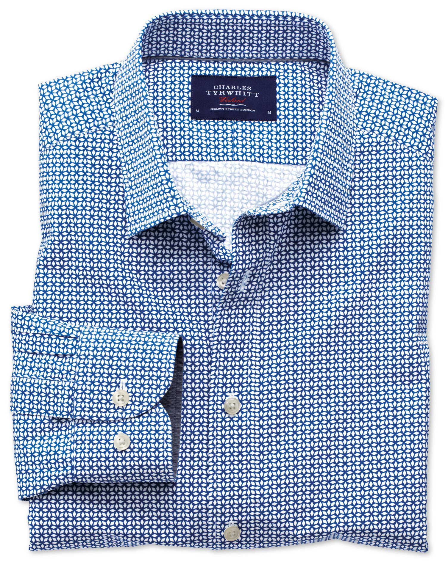 Slim Fit Royal and White Geometric Print Cotton Shirt Single Cuff Size Medium by Charles Tyrwhitt
