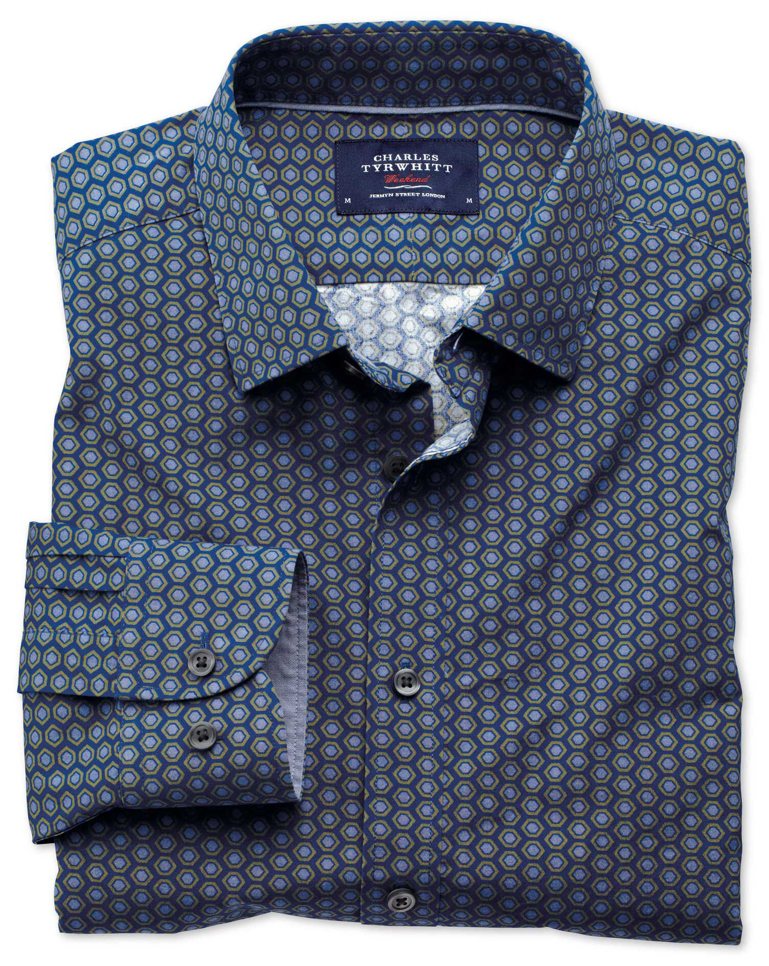 Slim Fit Blue and Green Hexagon Print Cotton Shirt Single Cuff Size XXL by Charles Tyrwhitt