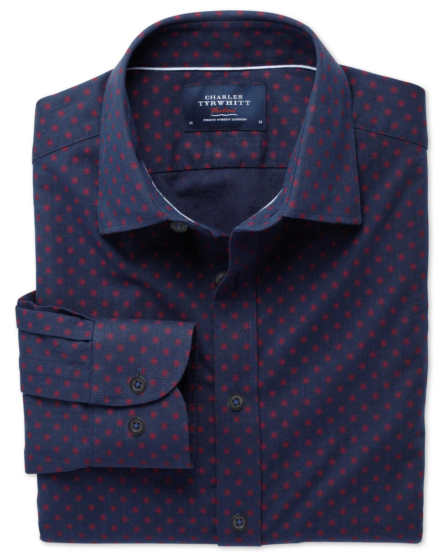 Extra Slim Fit Navy and Red Spot Print Cotton Shirt Single Cuff Size Small by Charles Tyrwhitt