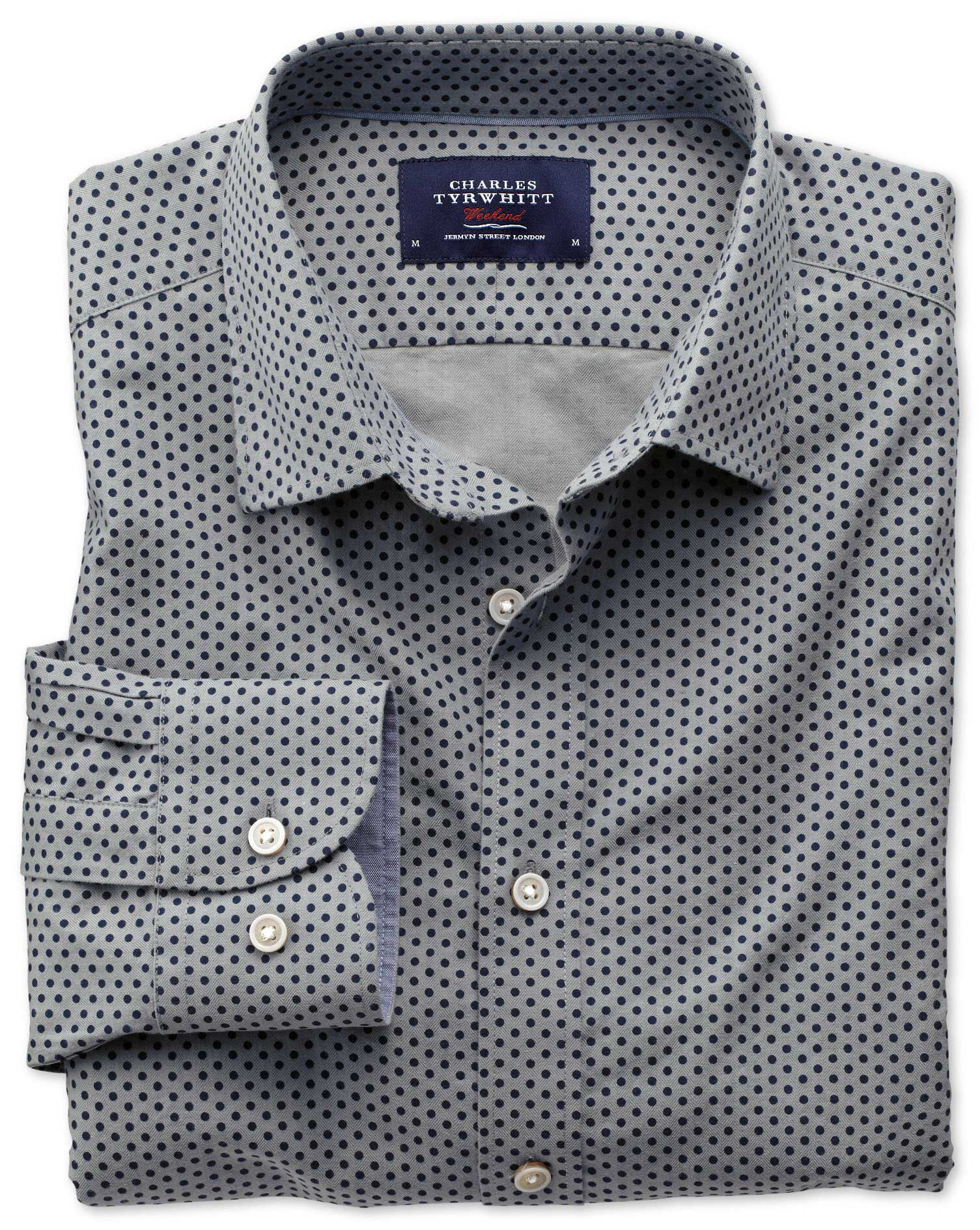 Slim Fit Navy and Grey Spot Print Cotton Shirt Single Cuff Size XS by Charles Tyrwhitt