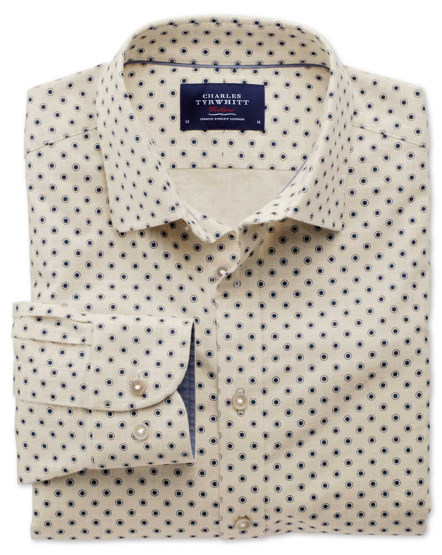 Slim Fit Stone Spot Print Cotton Shirt Single Cuff Size XL by Charles Tyrwhitt