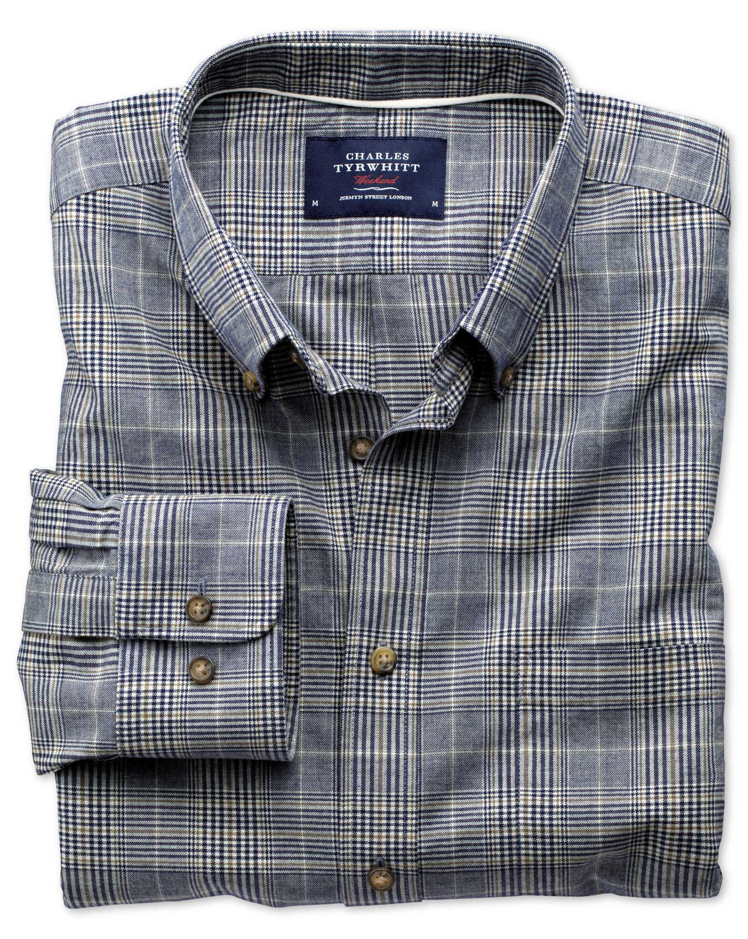 Classic Fit Navy and Brown Check Tweed Look Cotton Shirt Single Cuff Size XL by Charles Tyrwhitt
