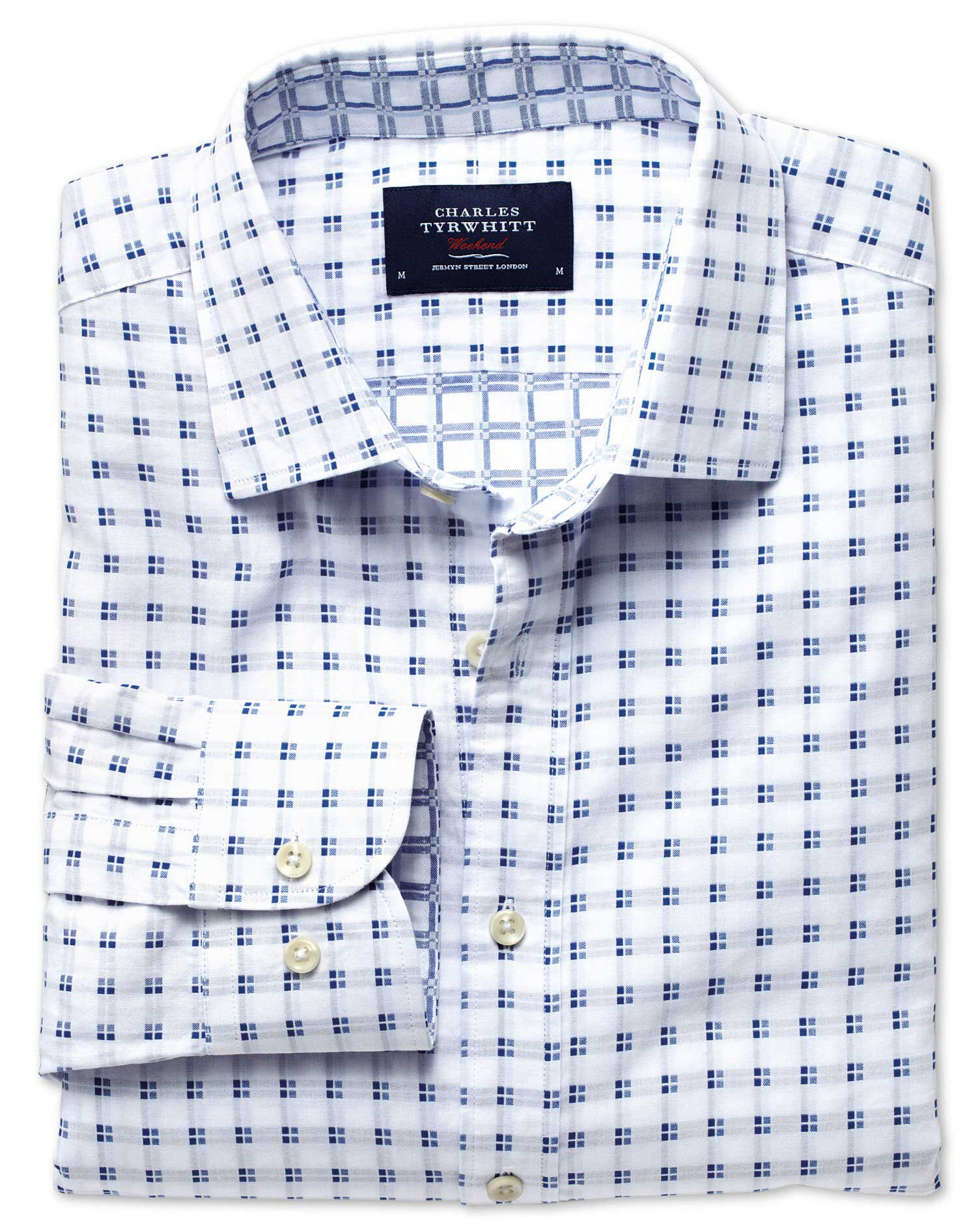 Extra Slim Fit White and Blue Double Faced Cotton Shirt Single Cuff Size Medium by Charles Tyrwhitt