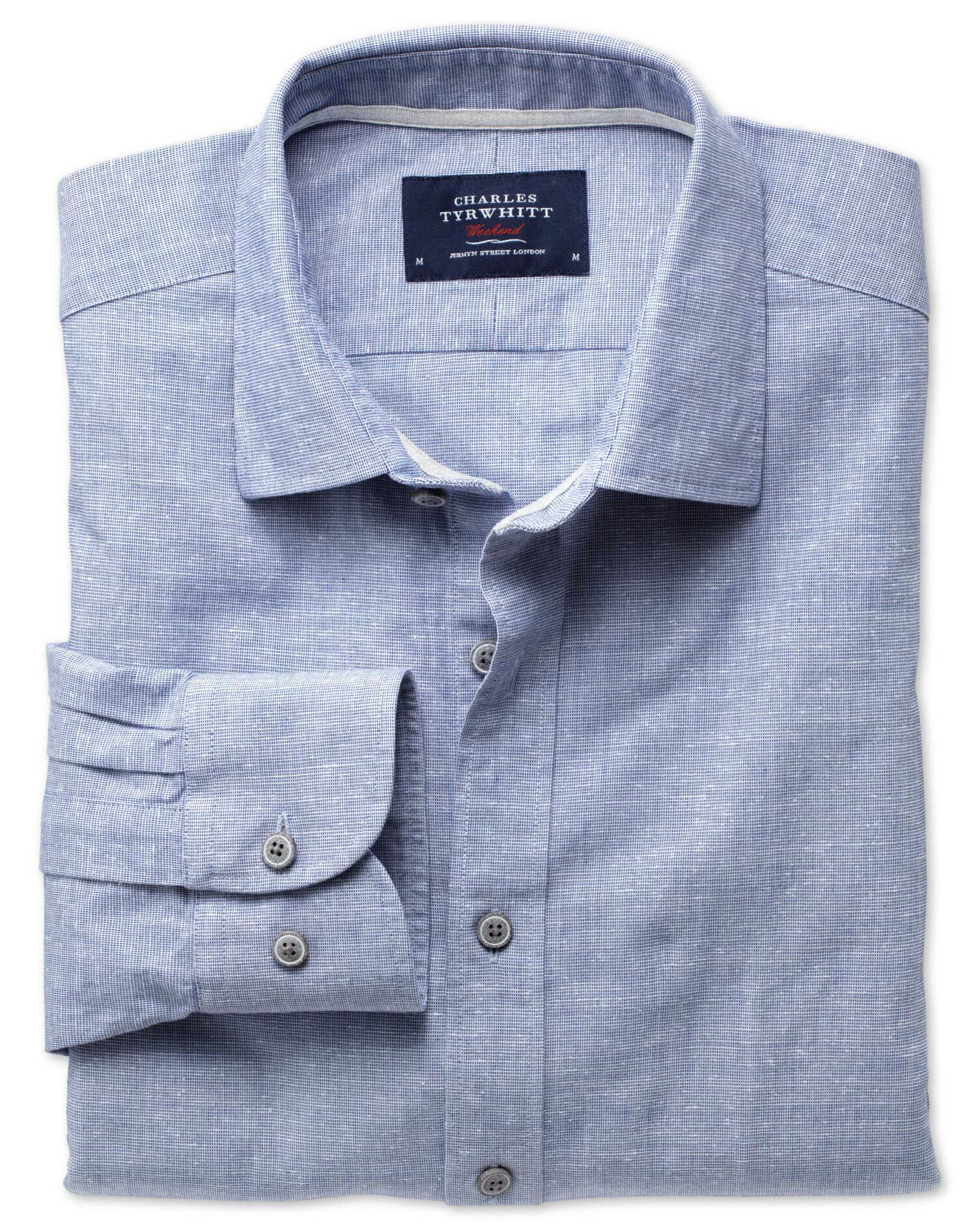 Slim Fit Slub Cotton Blue Shirt Single Cuff Size XS by Charles Tyrwhitt