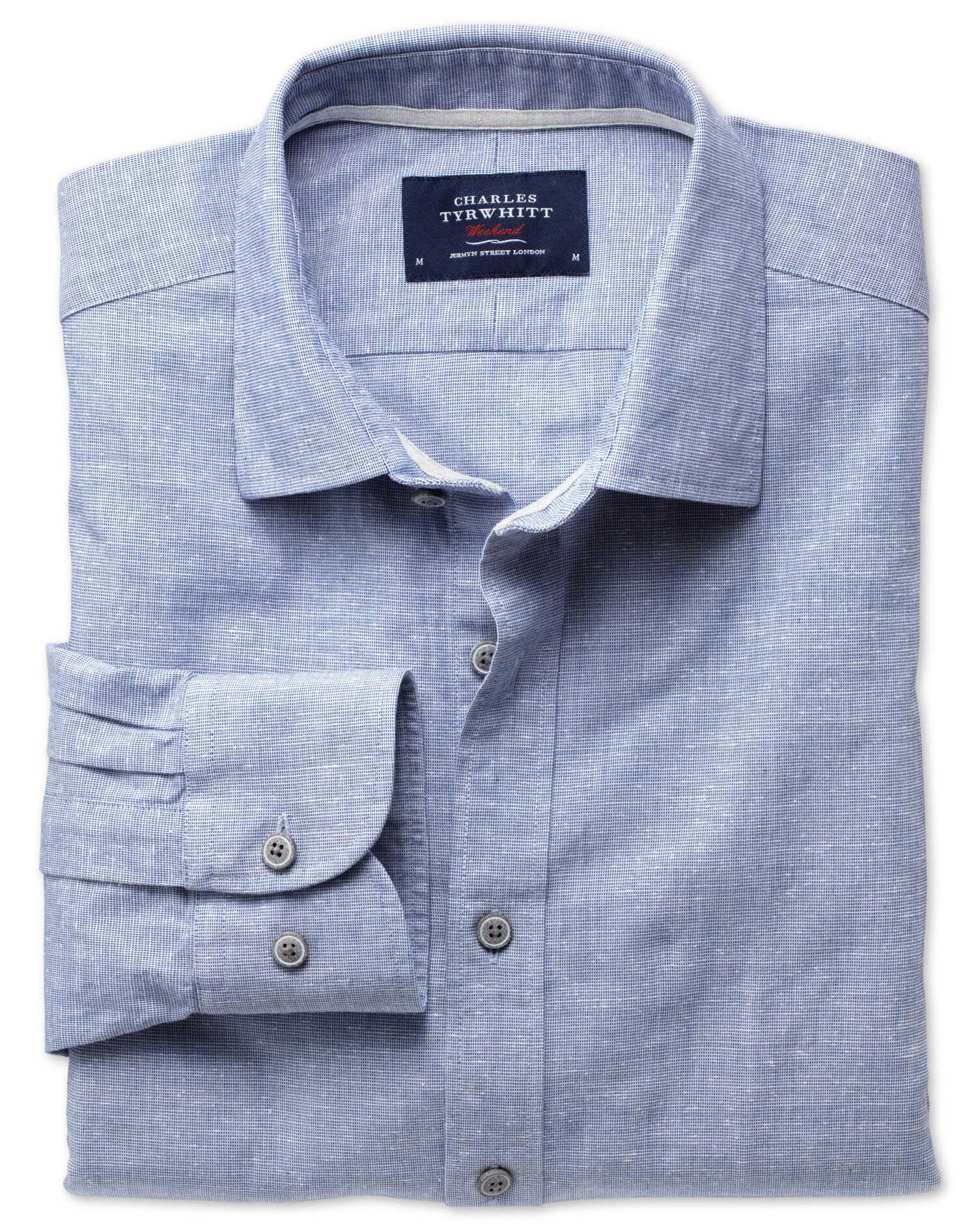 Extra Slim Fit Slub Cotton Blue Shirt Single Cuff Size Small by Charles Tyrwhitt