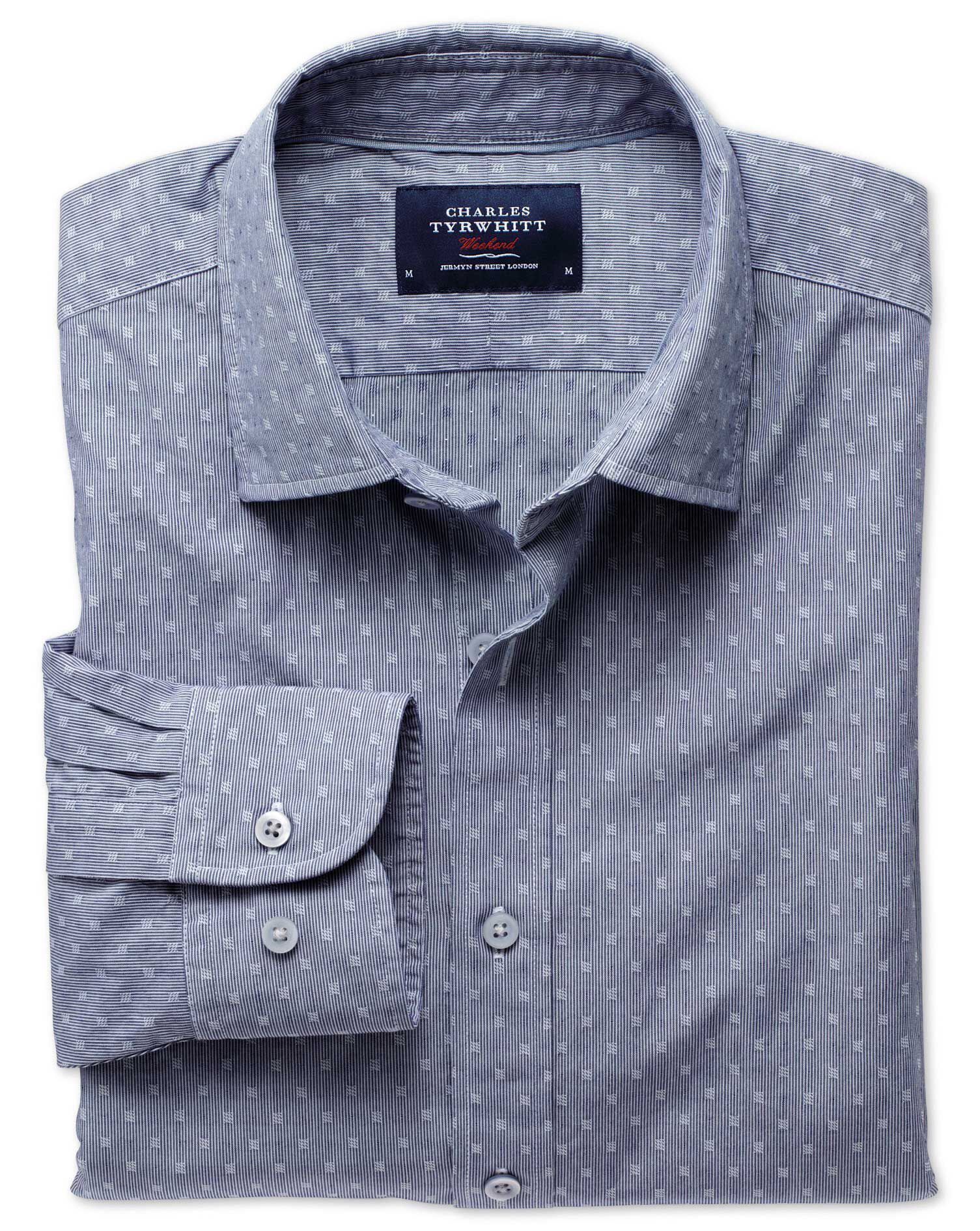Charles Tyrwhitt Classic Fit Navy Poplin Dobby Cotton Formal Shirt Size XL
