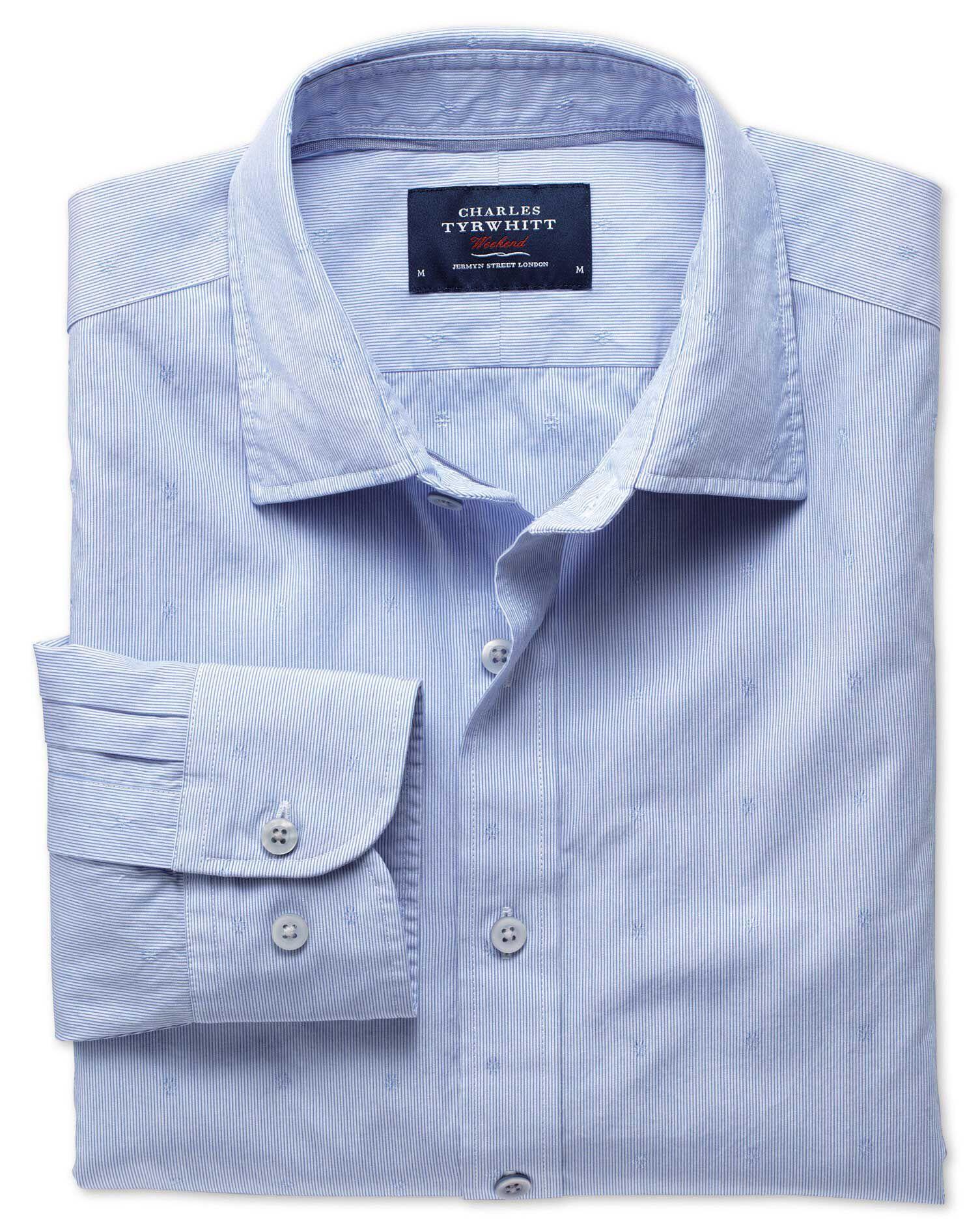 Slim Fit Sky Blue Poplin Dobby Cotton Shirt Single Cuff Size XS by Charles Tyrwhitt