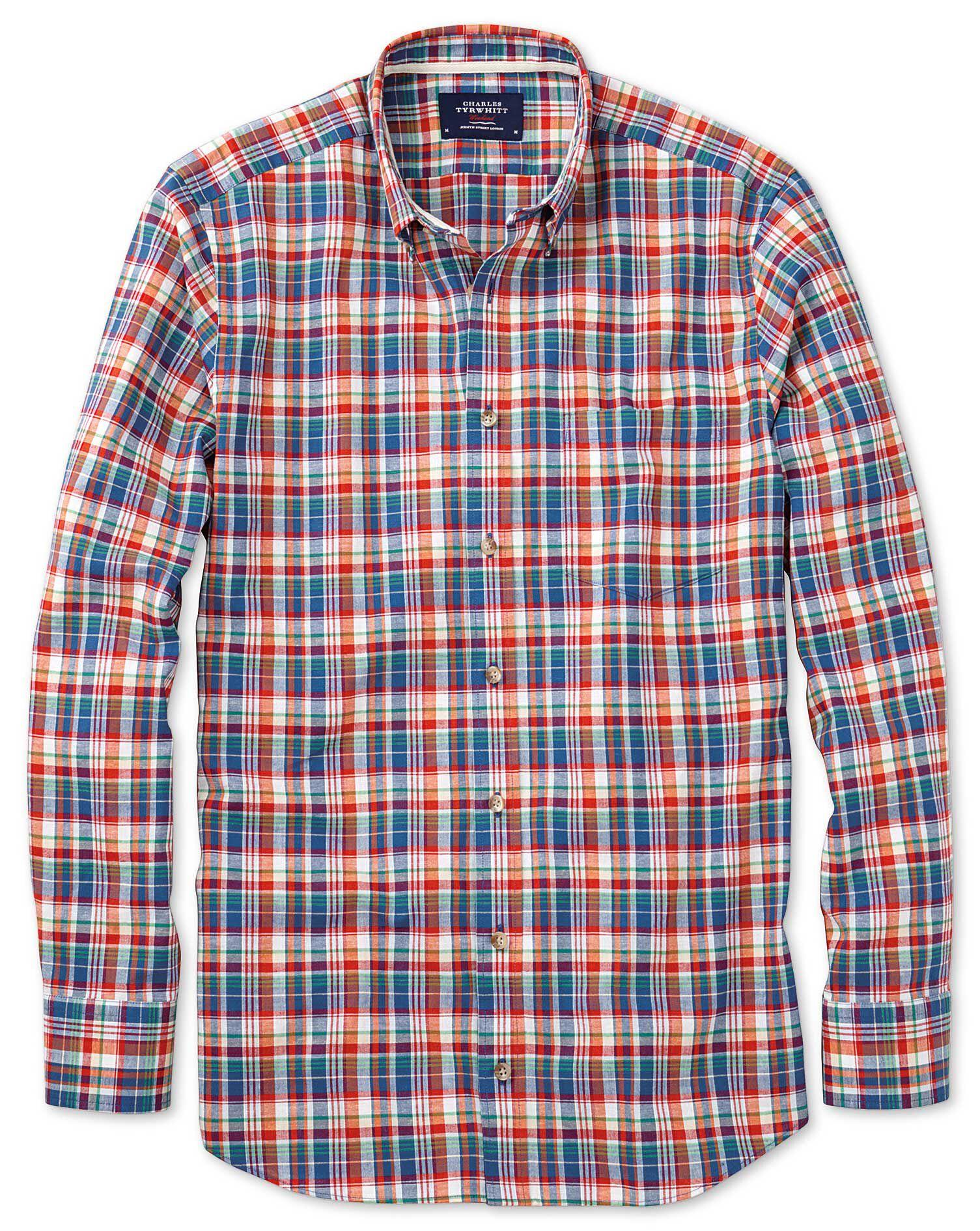 Slim Fit Orange and Blue Check Cotton Shirt Single Cuff Size XS by Charles Tyrwhitt