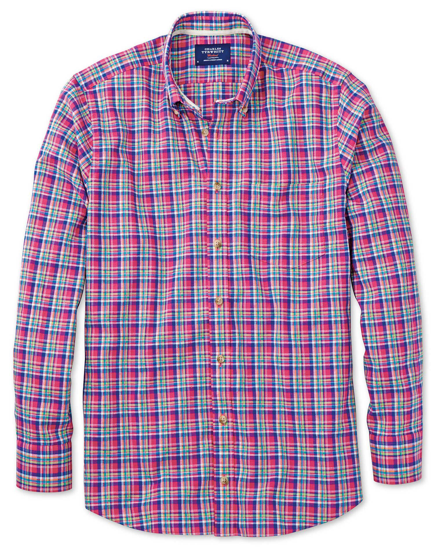 Slim Fit Pink and Green Check Cotton Shirt Single Cuff Size Large by Charles Tyrwhitt