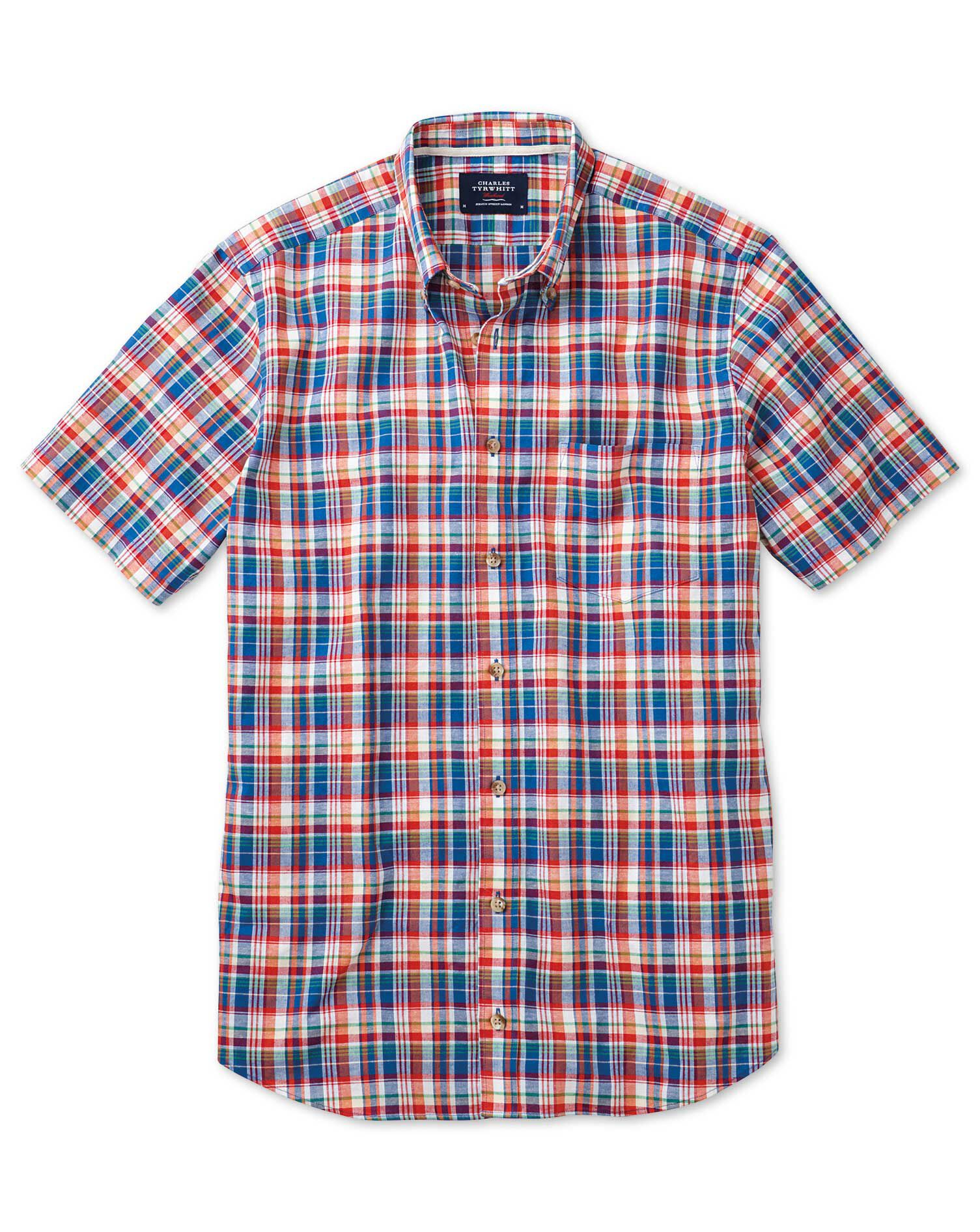 Slim Fit Short Sleeve Orange and Blue Check Cotton Shirt Single Cuff Size Small by Charles Tyrwhitt