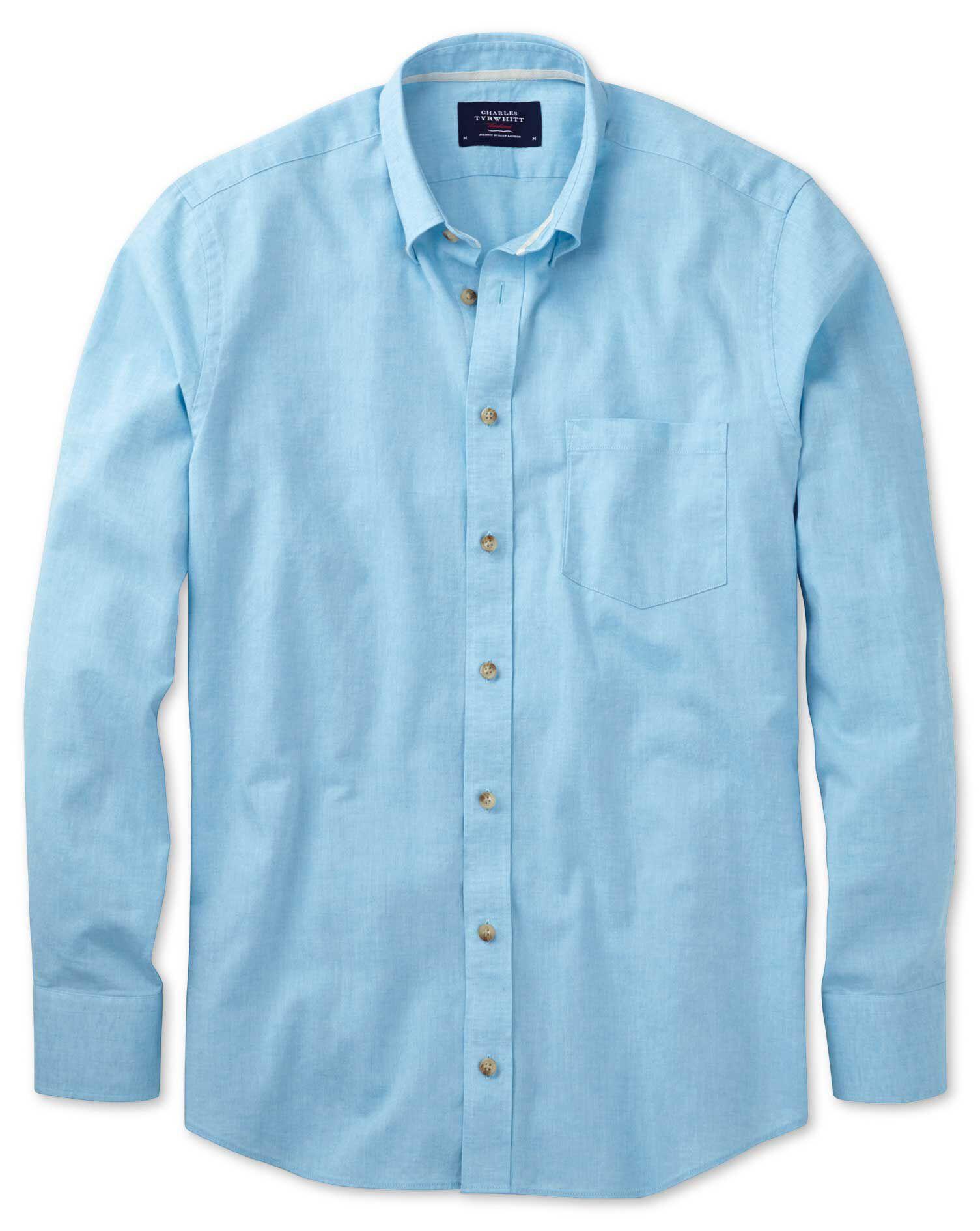Classic Fit Aqua Blue Cotton Shirt Single Cuff Size Medium by Charles Tyrwhitt