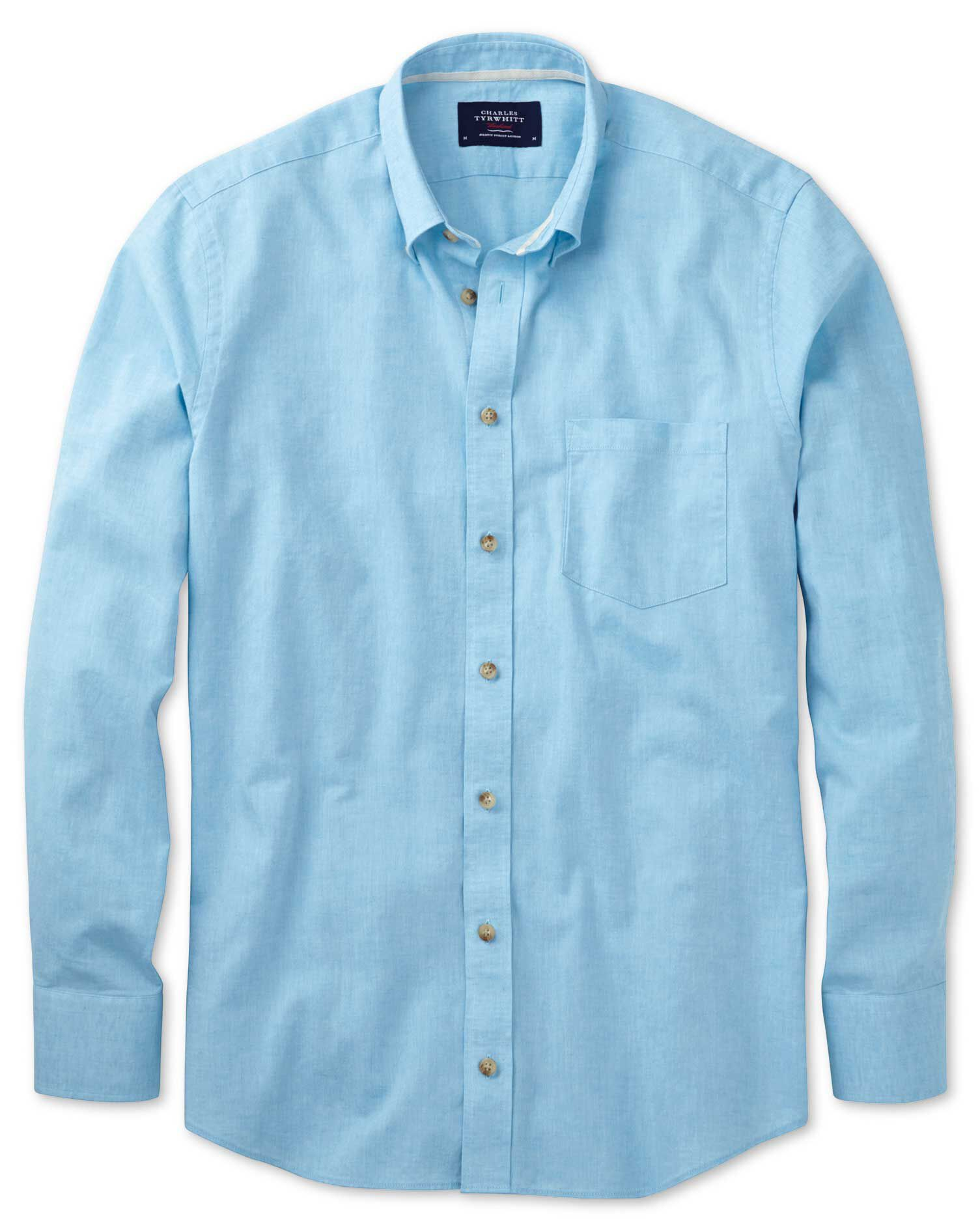 Slim Fit Aqua Blue Cotton Shirt Single Cuff Size XL by Charles Tyrwhitt
