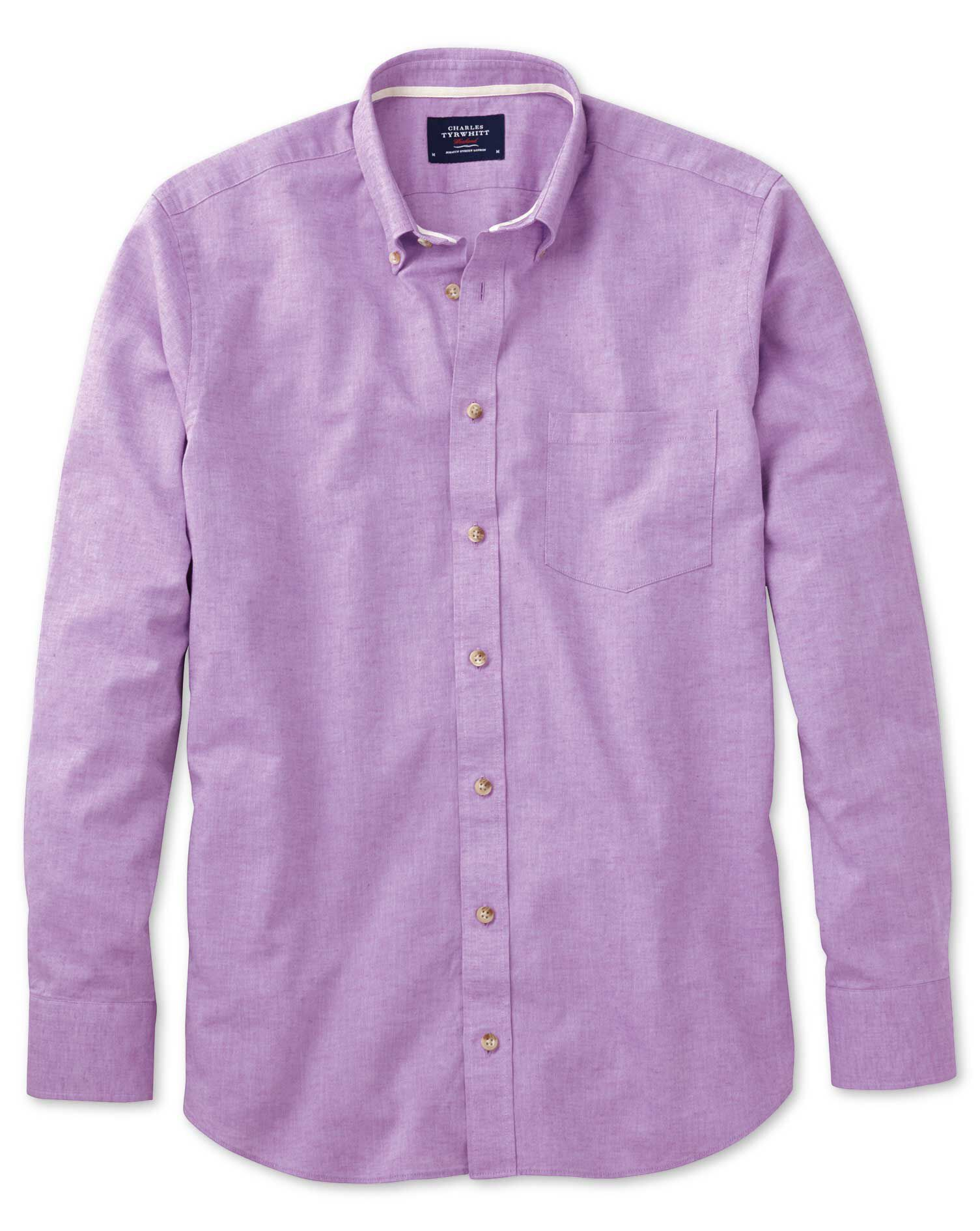 Slim Fit Lilac Cotton Shirt Single Cuff Size XS by Charles Tyrwhitt