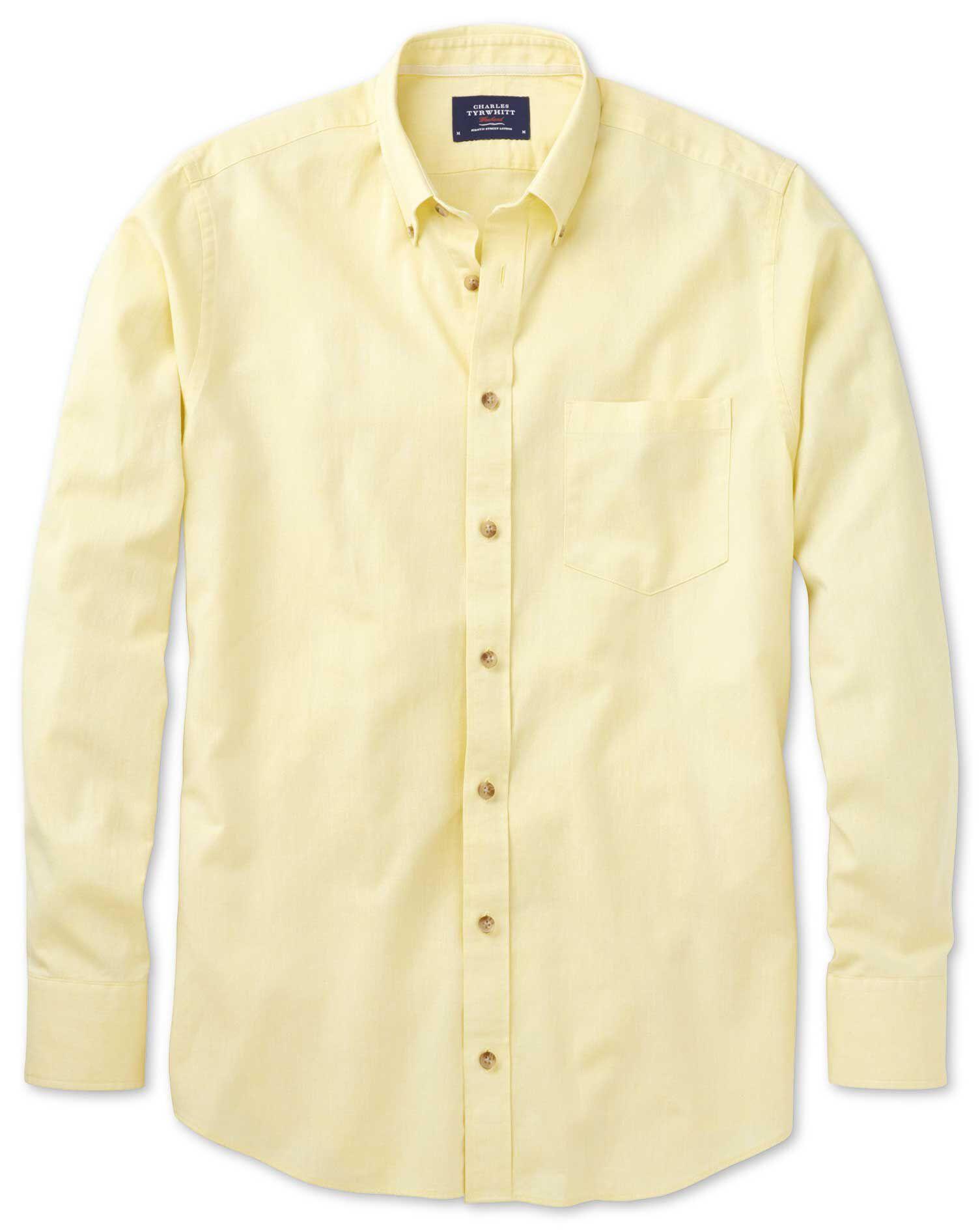 Slim Fit Yellow Cotton Shirt Single Cuff Size XS by Charles Tyrwhitt