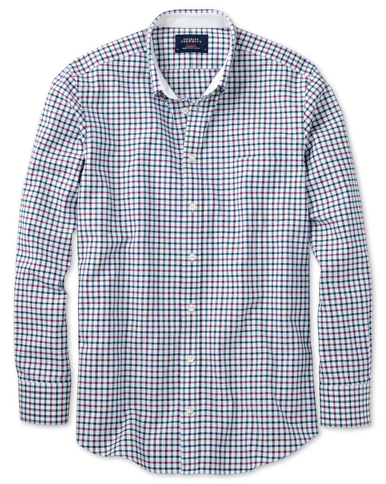 Classic Fit Navy and Berry Check Washed Oxford Cotton Shirt Single Cuff Size Large by Charles Tyrwhi