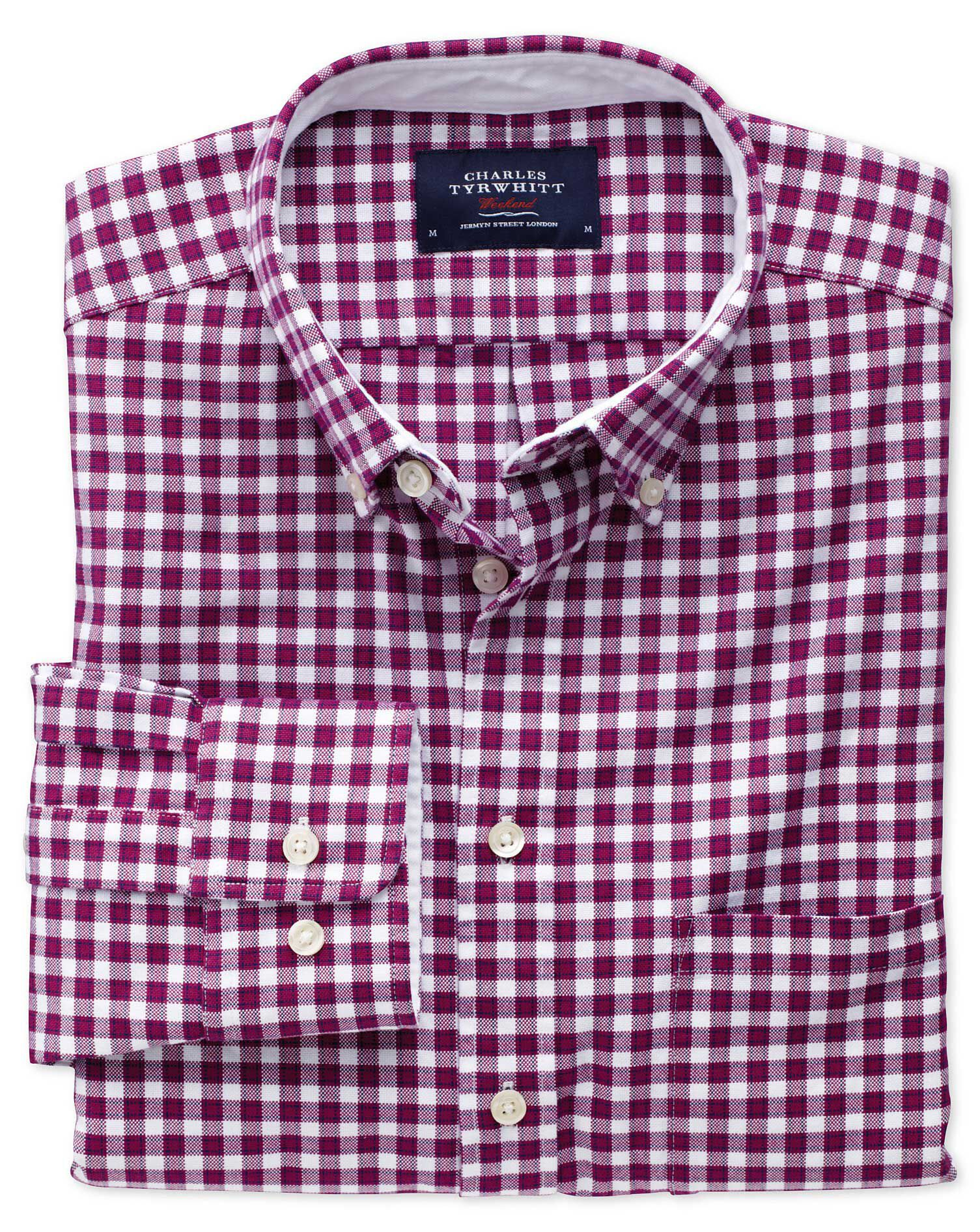 Extra Slim Fit Berry Check Washed Oxford Cotton Shirt Single Cuff Size Medium by Charles Tyrwhitt