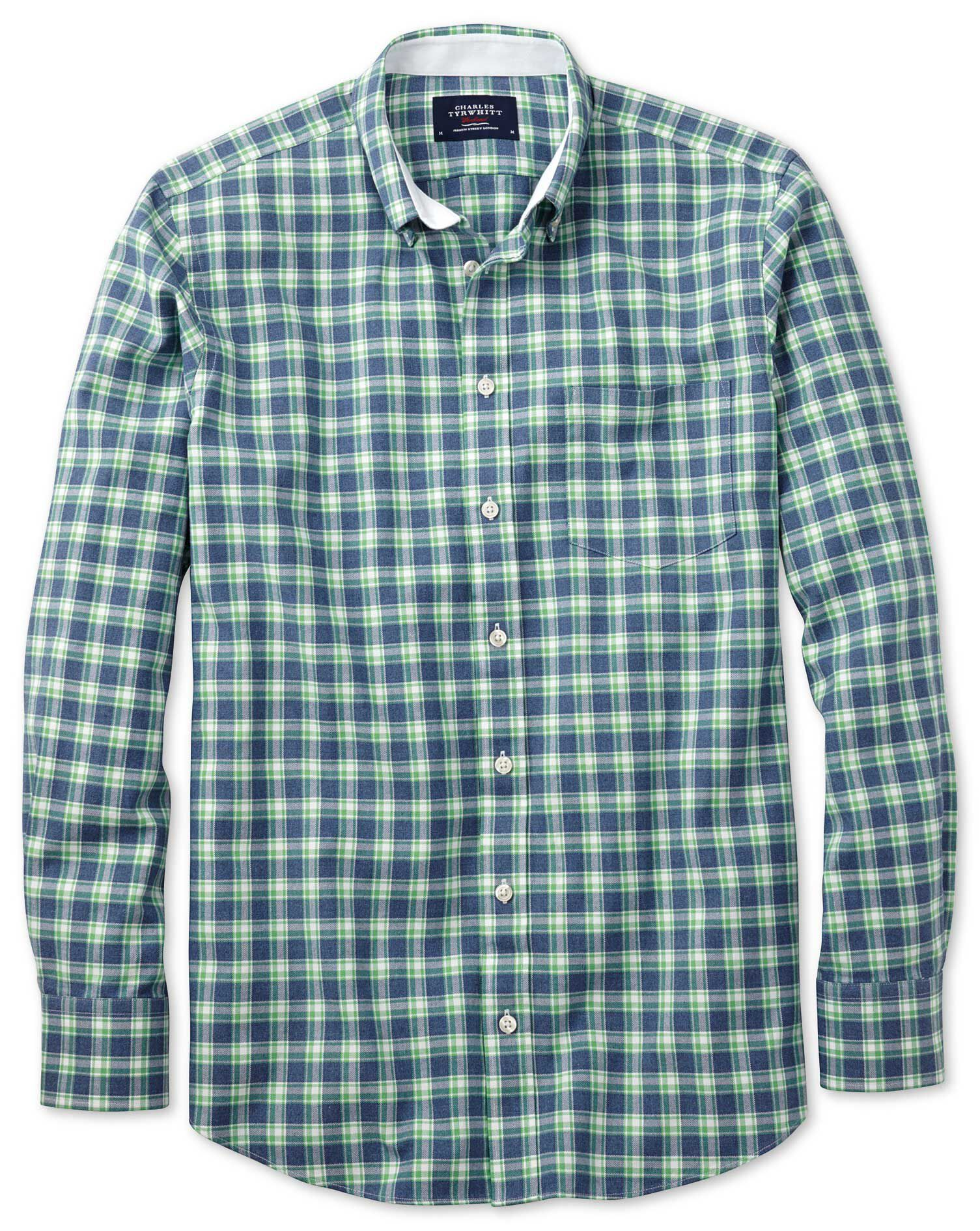 Extra Slim Fit Blue and Green Check Washed Oxford Cotton Shirt Single Cuff Size Medium by Charles Ty