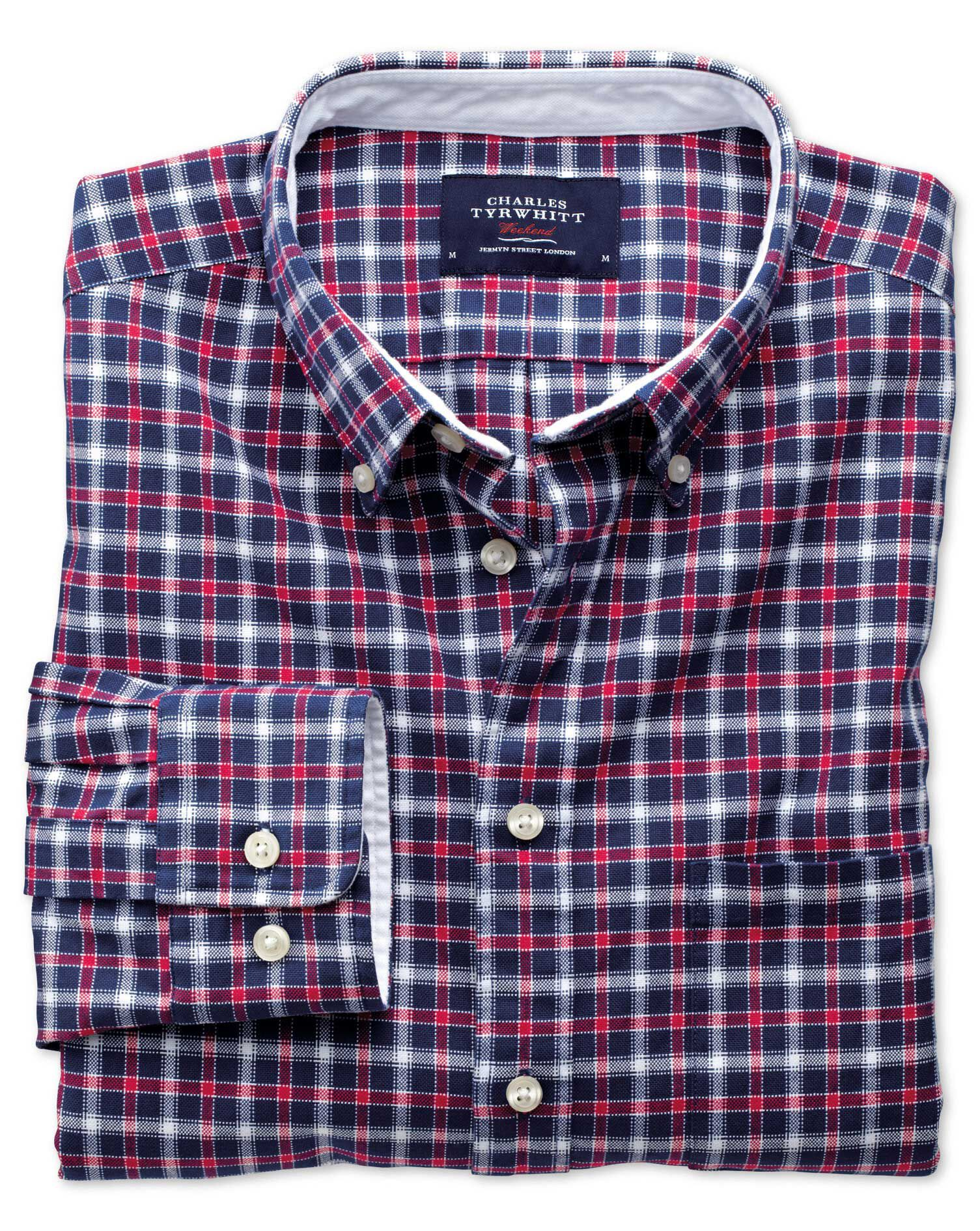 Extra Slim Fit Blue and Red Check Washed Oxford Cotton Shirt Single Cuff Size XS by Charles Tyrwhitt
