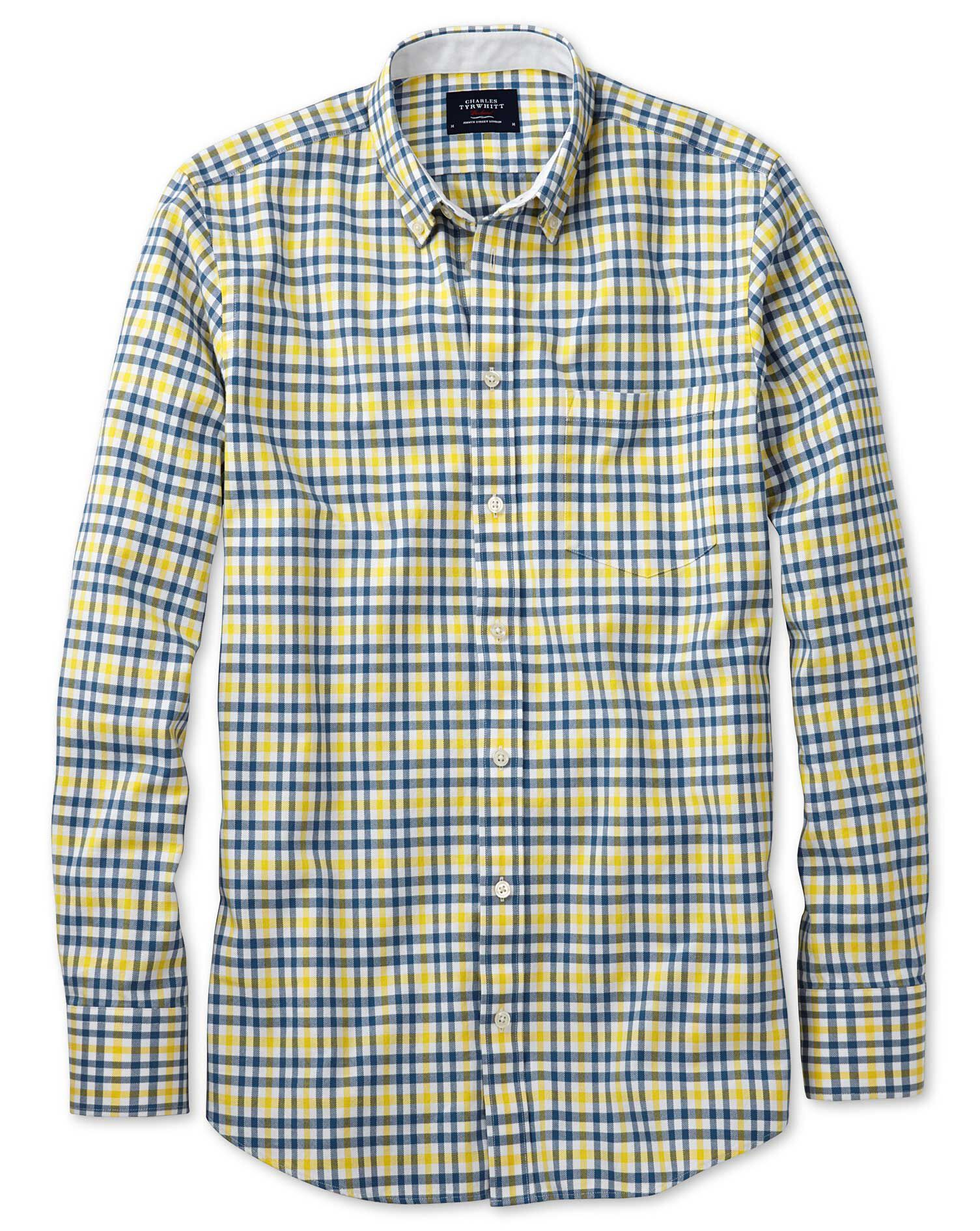 Extra Slim Fit Blue and Yellow Check Washed Oxford Cotton Shirt Single Cuff Size Medium by Charles T