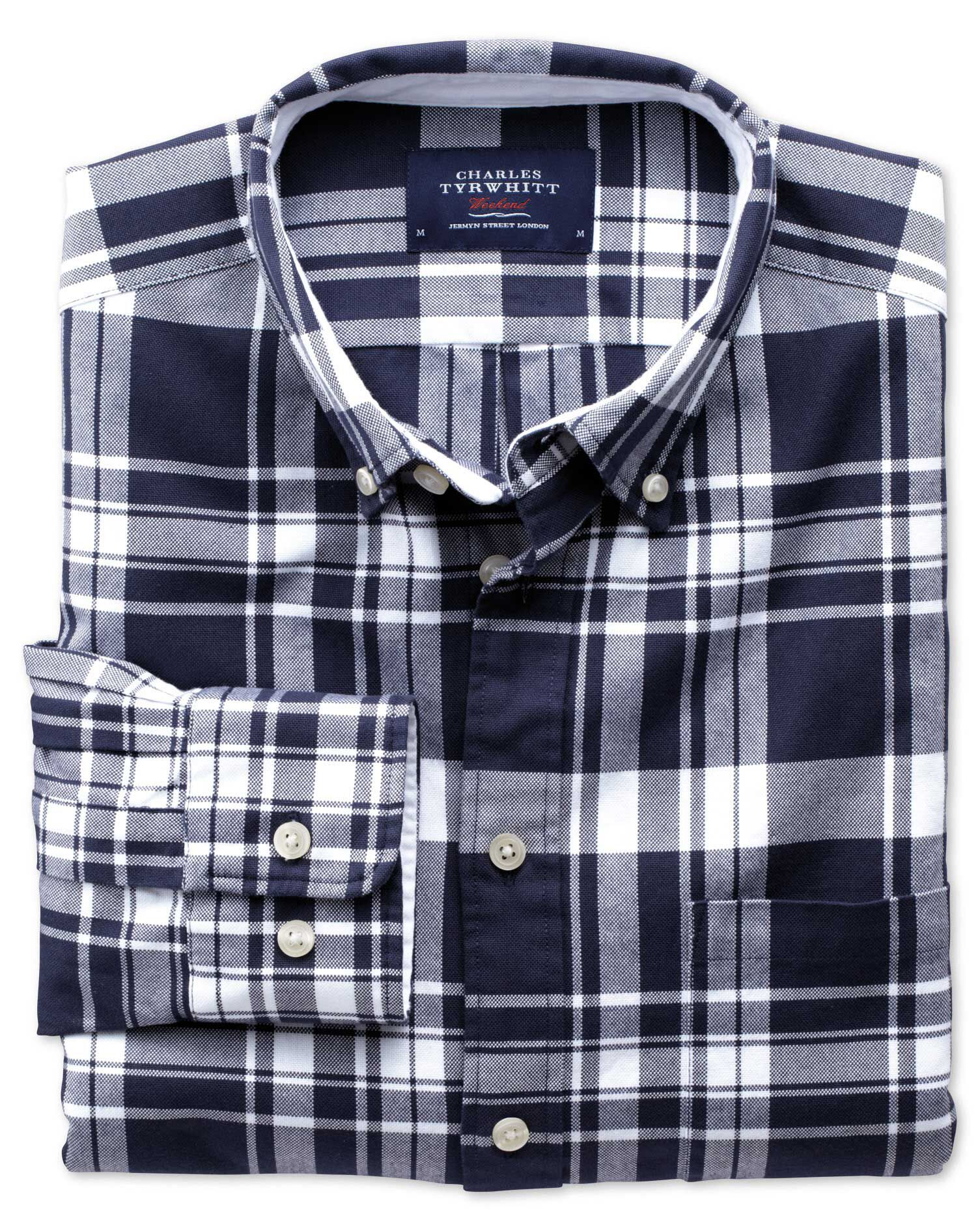 Extra Slim Fit Navy and White Check Washed Oxford Cotton Shirt Single Cuff Size XS by Charles Tyrwhi