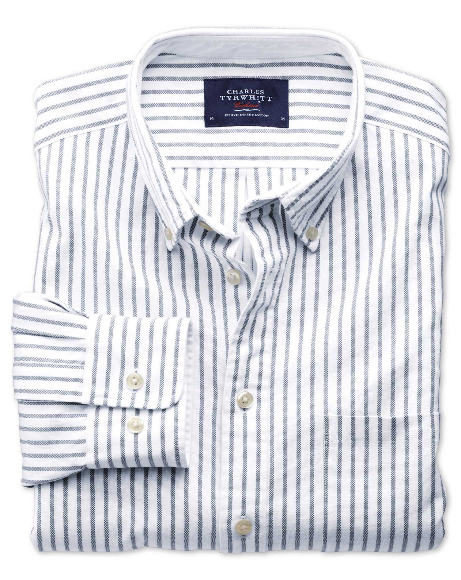 Extra Slim Fit Grey Stripe Washed Oxford Cotton Shirt Single Cuff Size Large by Charles Tyrwhitt