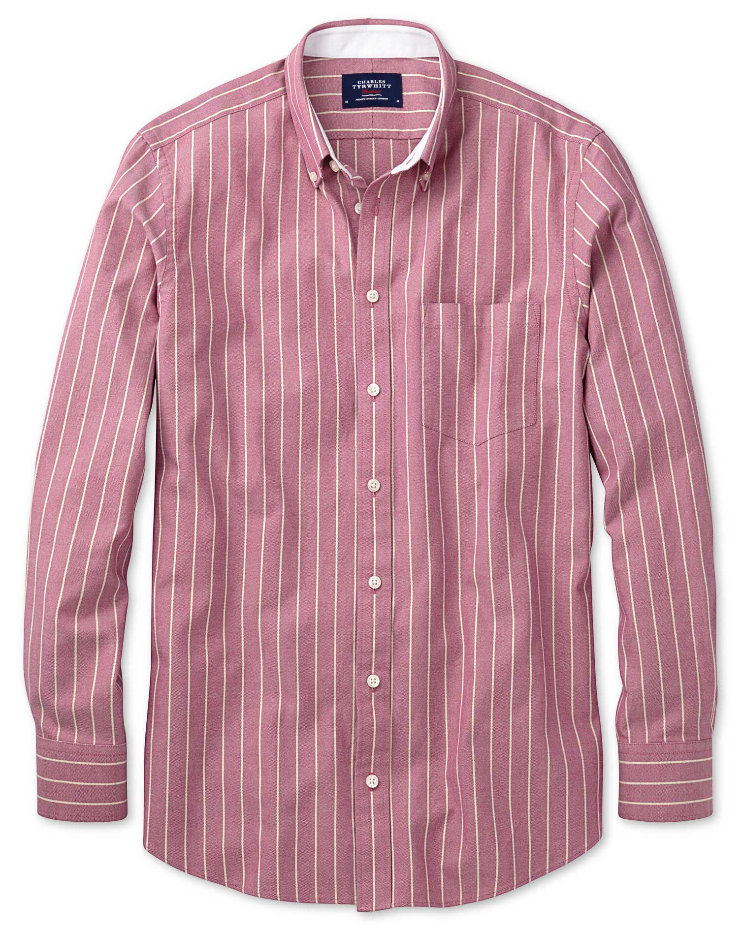 Extra Slim Fit Magenta Stripe Washed Oxford Cotton Shirt Single Cuff Size Small by Charles Tyrwhitt