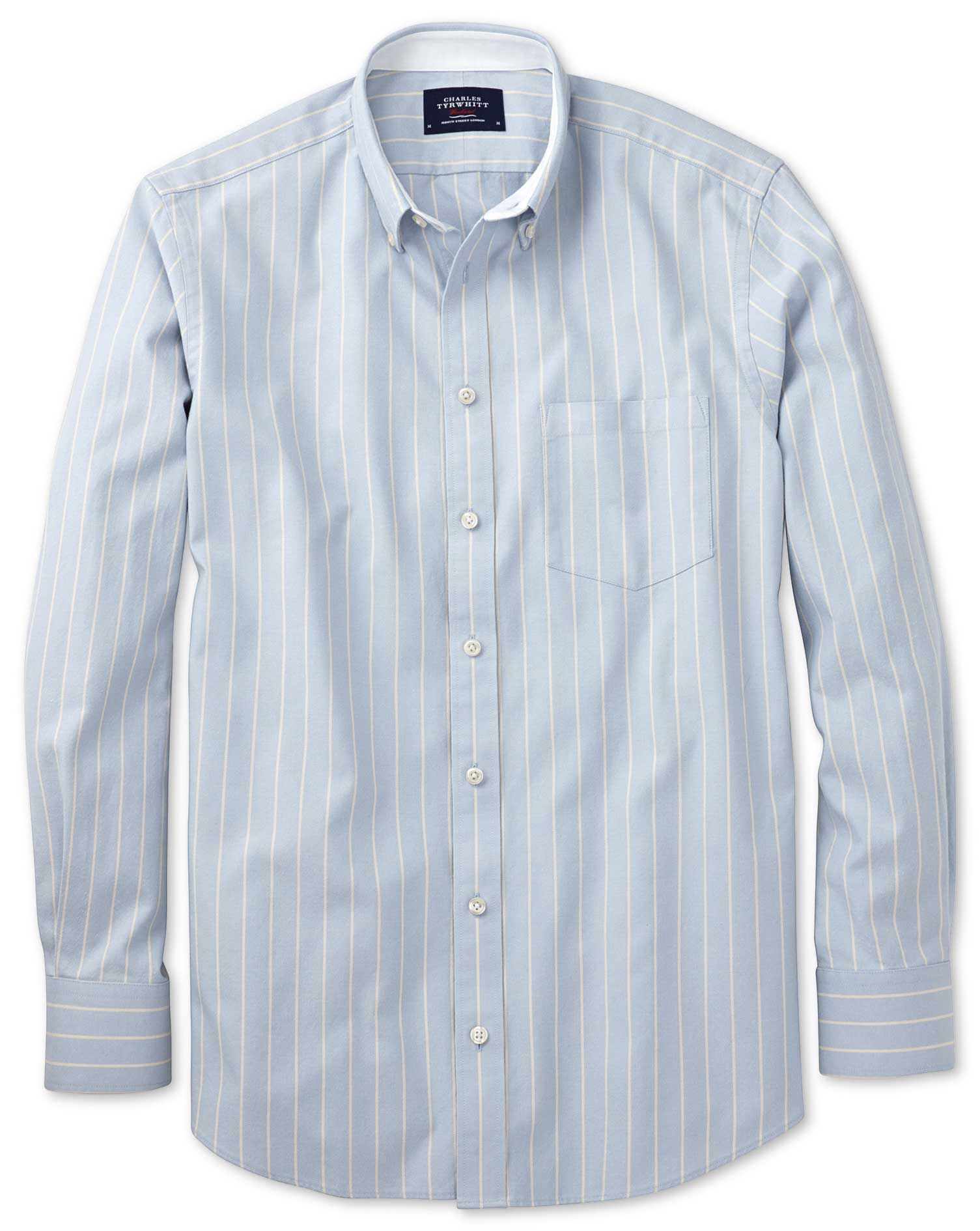 Extra Slim Fit Sky Blue Stripe Washed Oxford Cotton Shirt Single Cuff Size Large by Charles Tyrwhitt