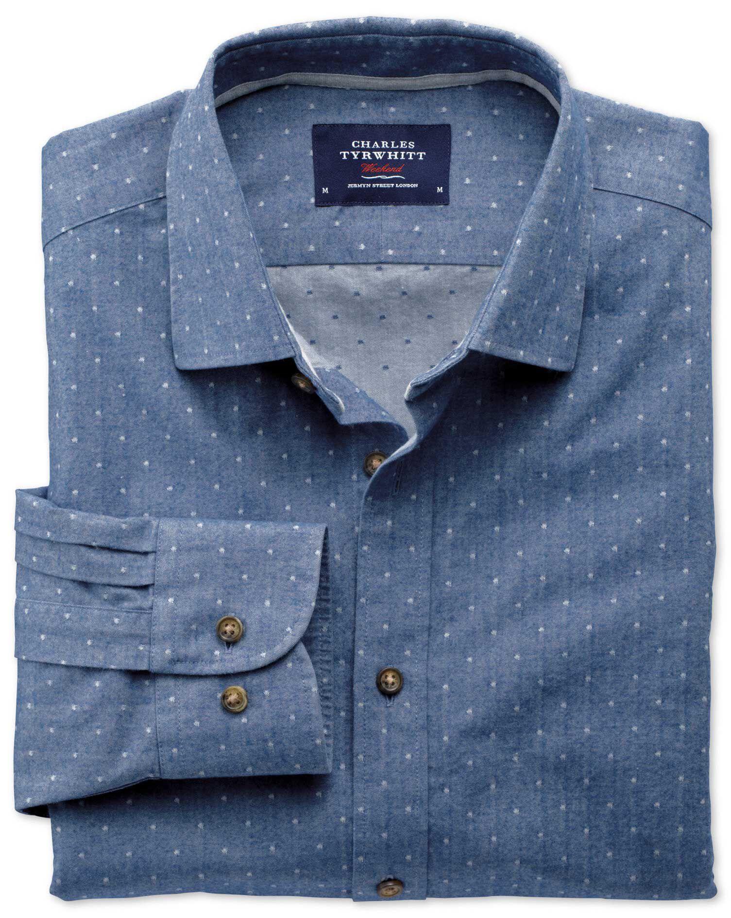 Extra Slim Fit Mid Blue Dobby Spot Cotton Shirt Single Cuff Size XS by Charles Tyrwhitt