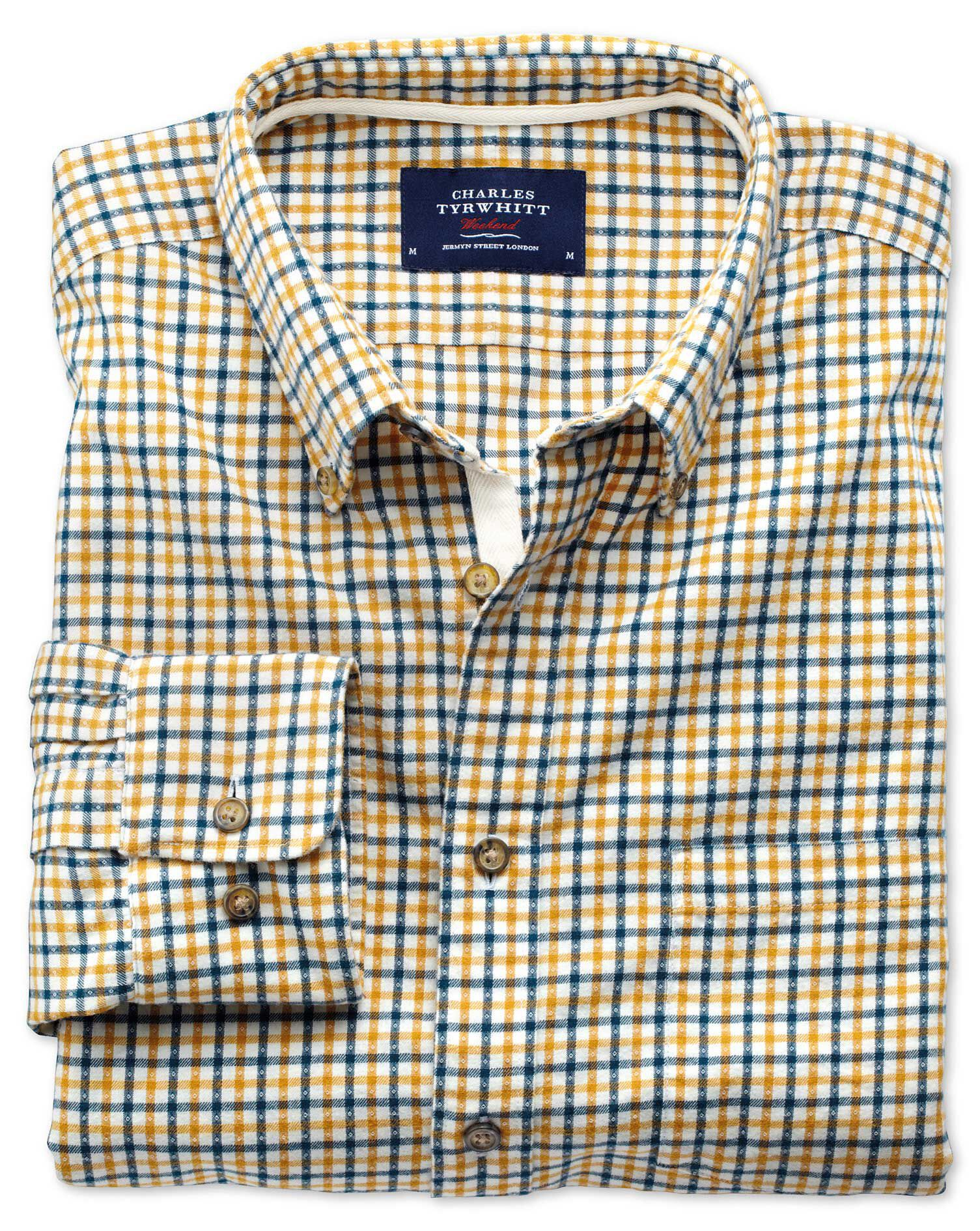 Classic Fit Gold and Blue Check Brushed Dobby Cotton Shirt Single Cuff Size XXL by Charles Tyrwhitt