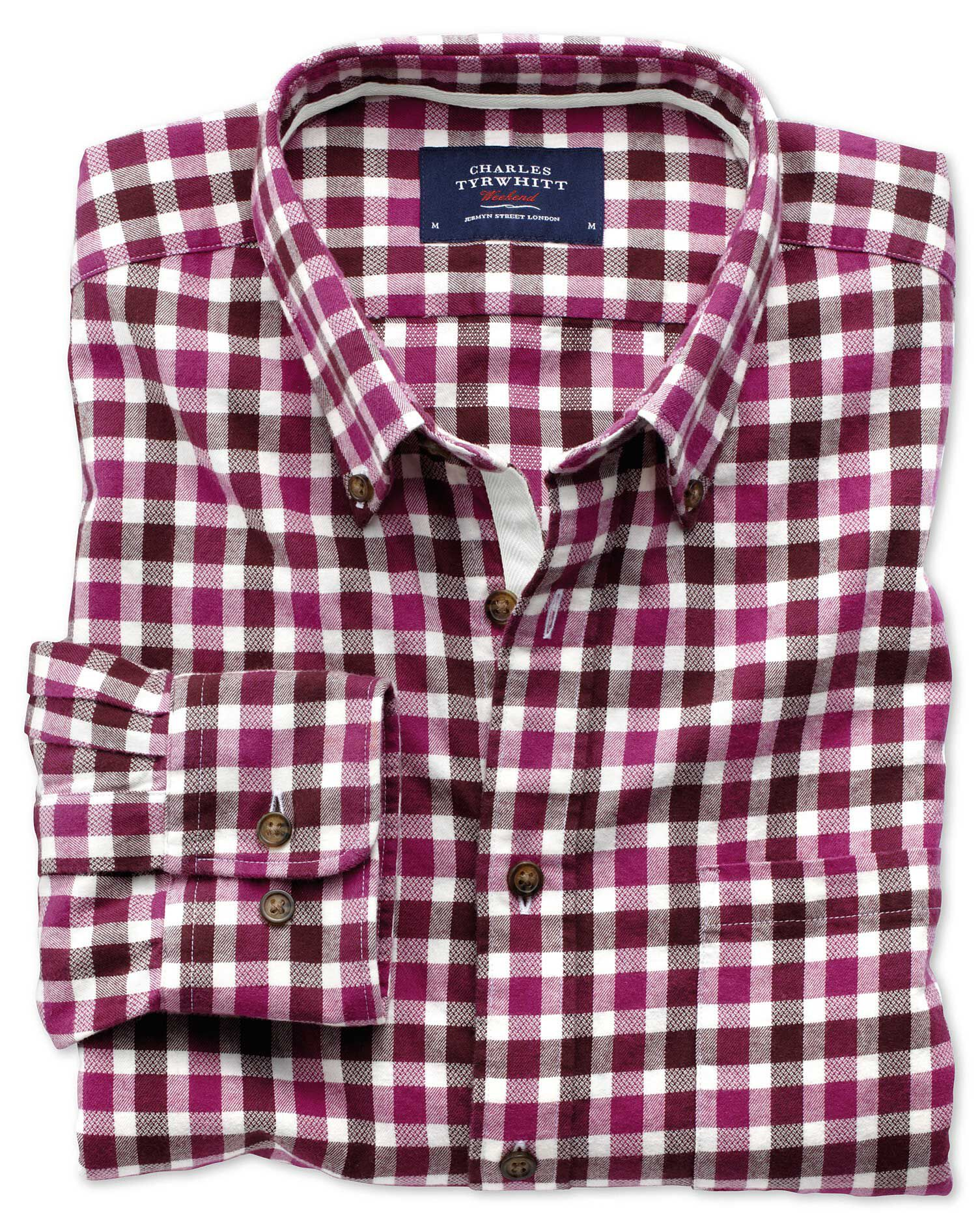 Extra Slim Fit Berry Check Brushed Dobby Cotton Shirt Single Cuff Size Medium by Charles Tyrwhitt
