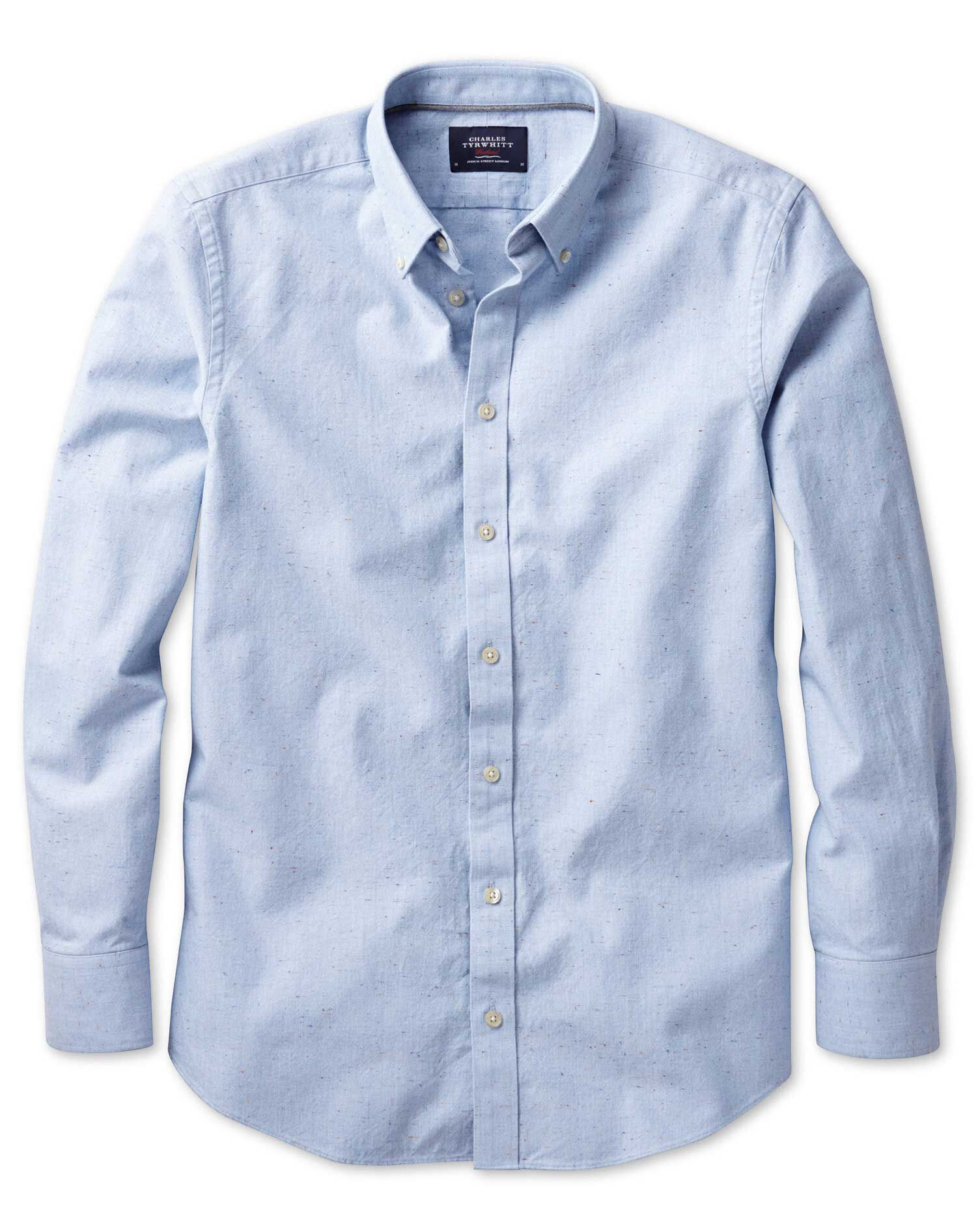 Classic Fit Modern Oxford Sky Blue Fleck Cotton Shirt Single Cuff Size Medium by Charles Tyrwhitt