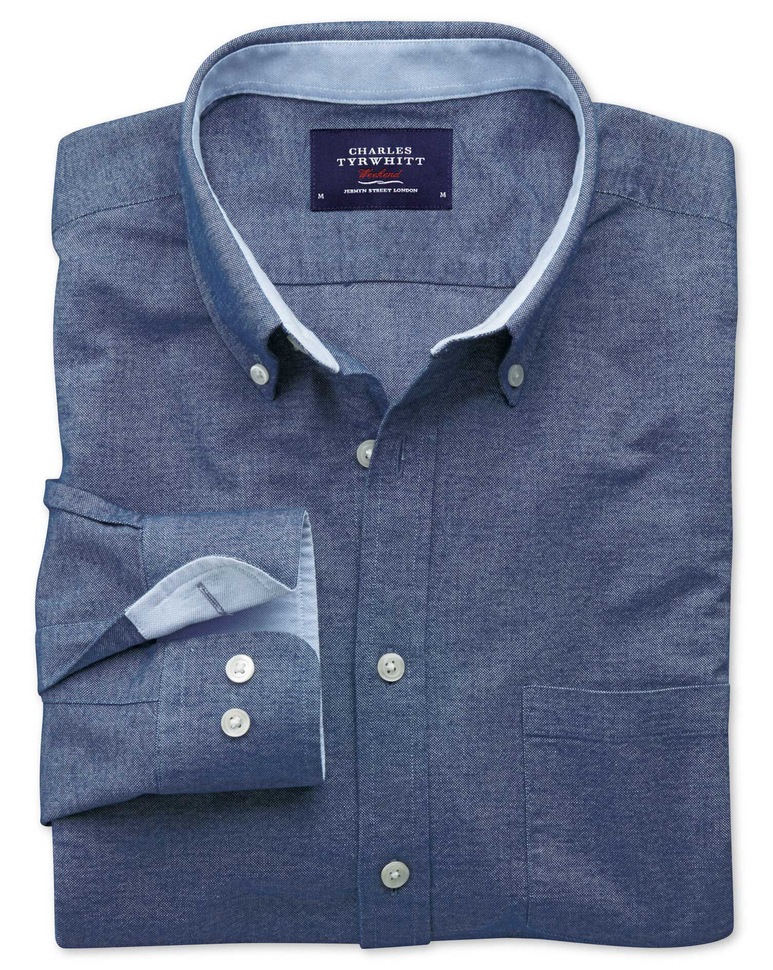 Classic Fit Blue Washed Oxford Cotton Shirt Single Cuff Size XXXL by Charles Tyrwhitt