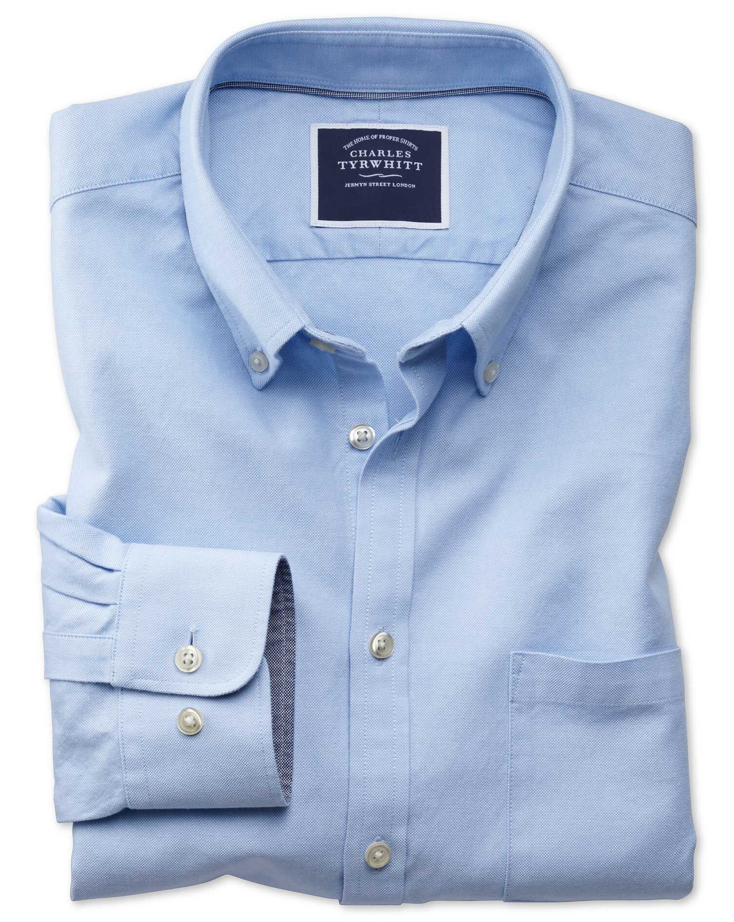 Slim Fit Button-Down Washed Oxford Plain Sky Blue Cotton Shirt Single Cuff Size Medium by Charles Ty