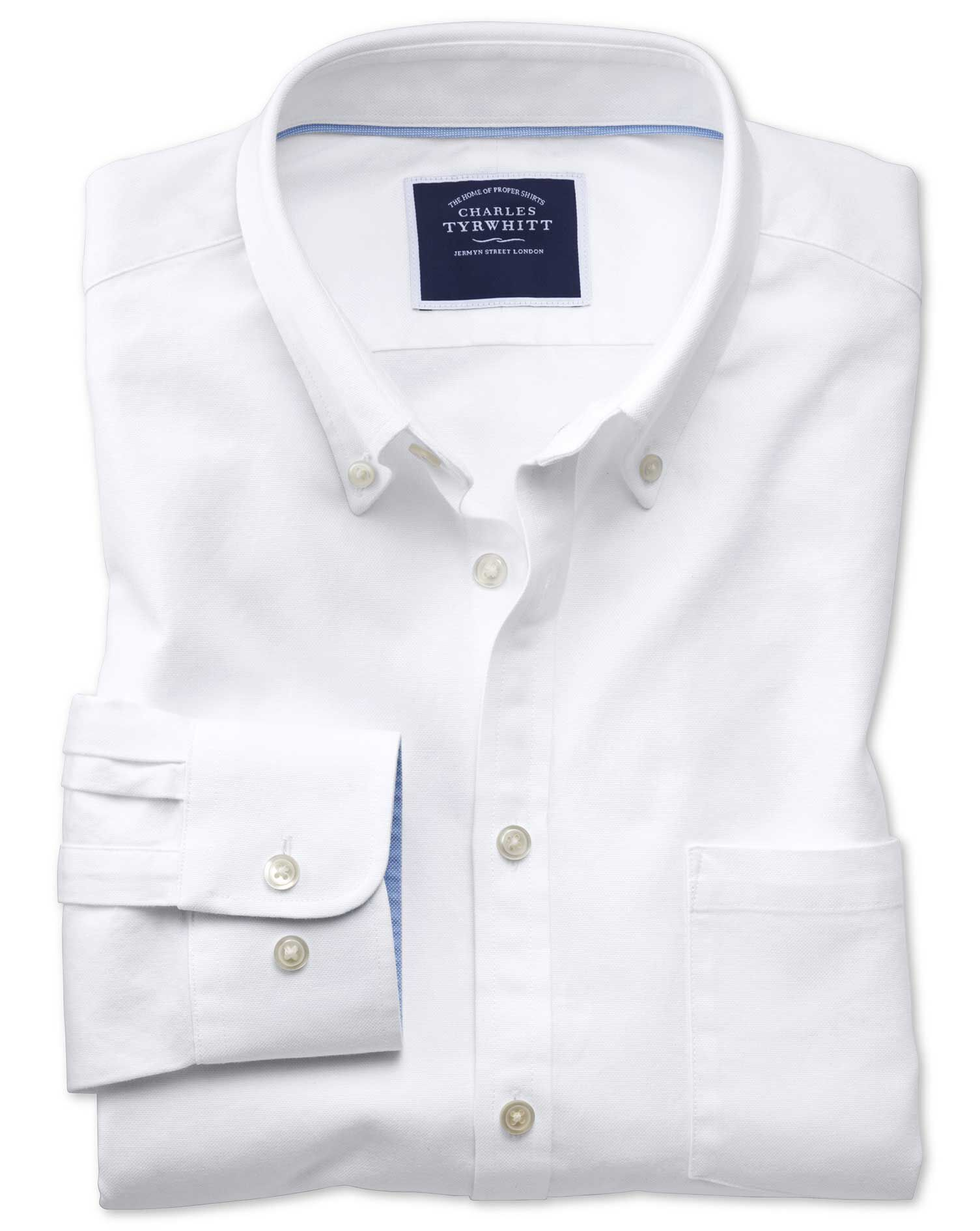 Slim Fit Button-Down Washed Oxford Plain White Cotton Shirt Single Cuff Size XXL by Charles Tyrwhitt
