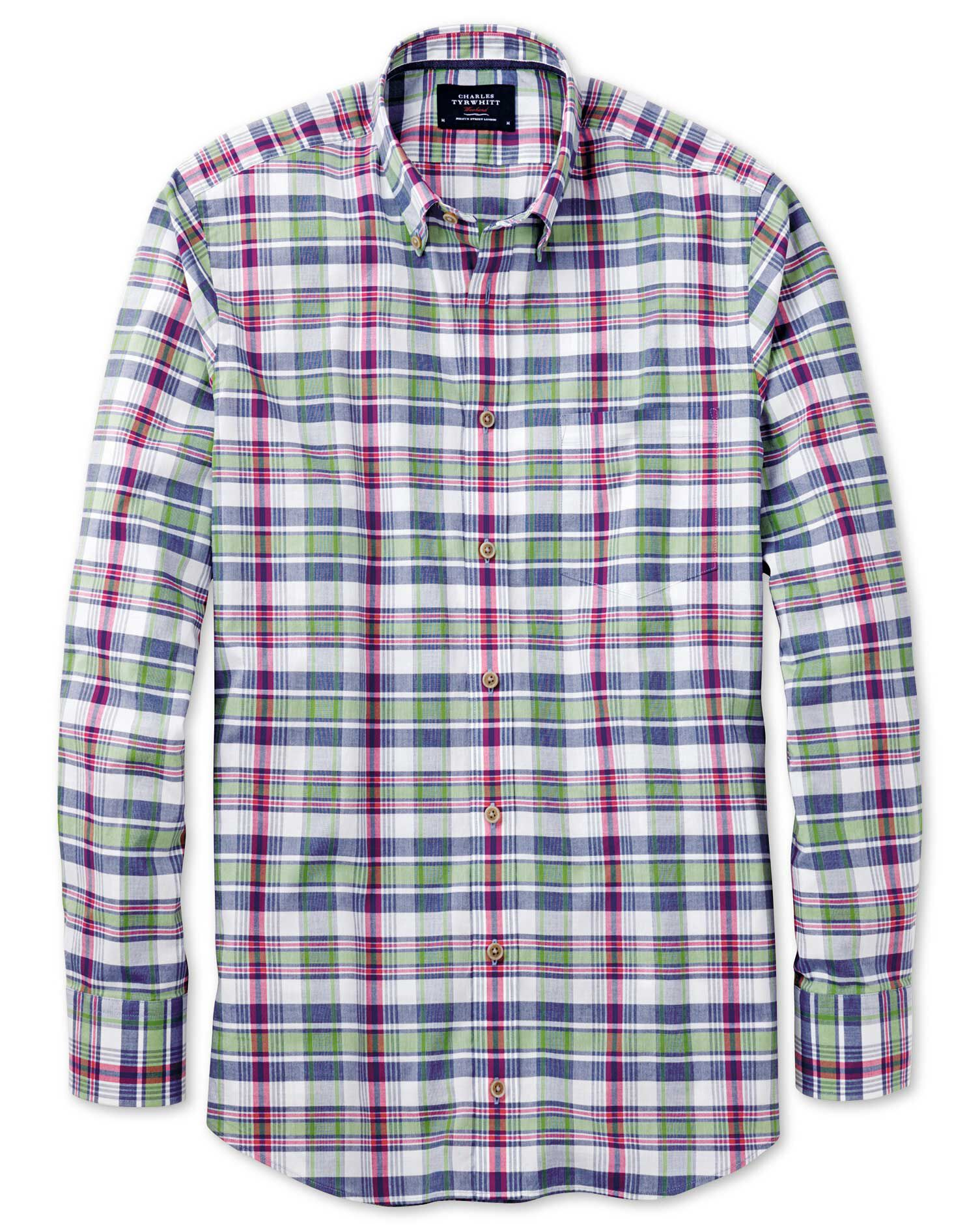 Classic Fit Poplin Pink and Green Check Cotton Shirt Single Cuff Size Large by Charles Tyrwhitt