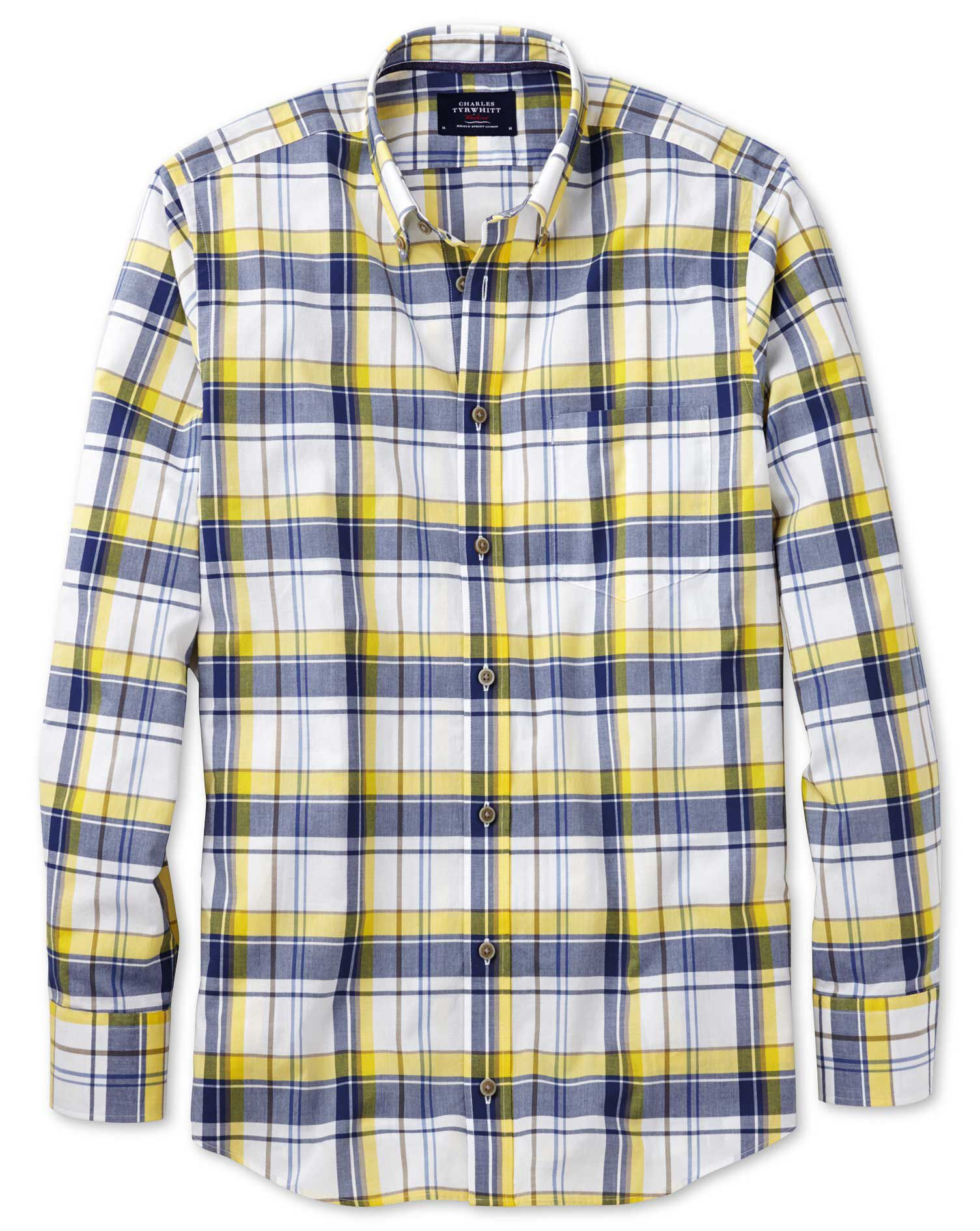 Slim Fit Button-Down Poplin Navy Blue and Yellow Check Cotton Shirt Single Cuff Size Medium by Charl