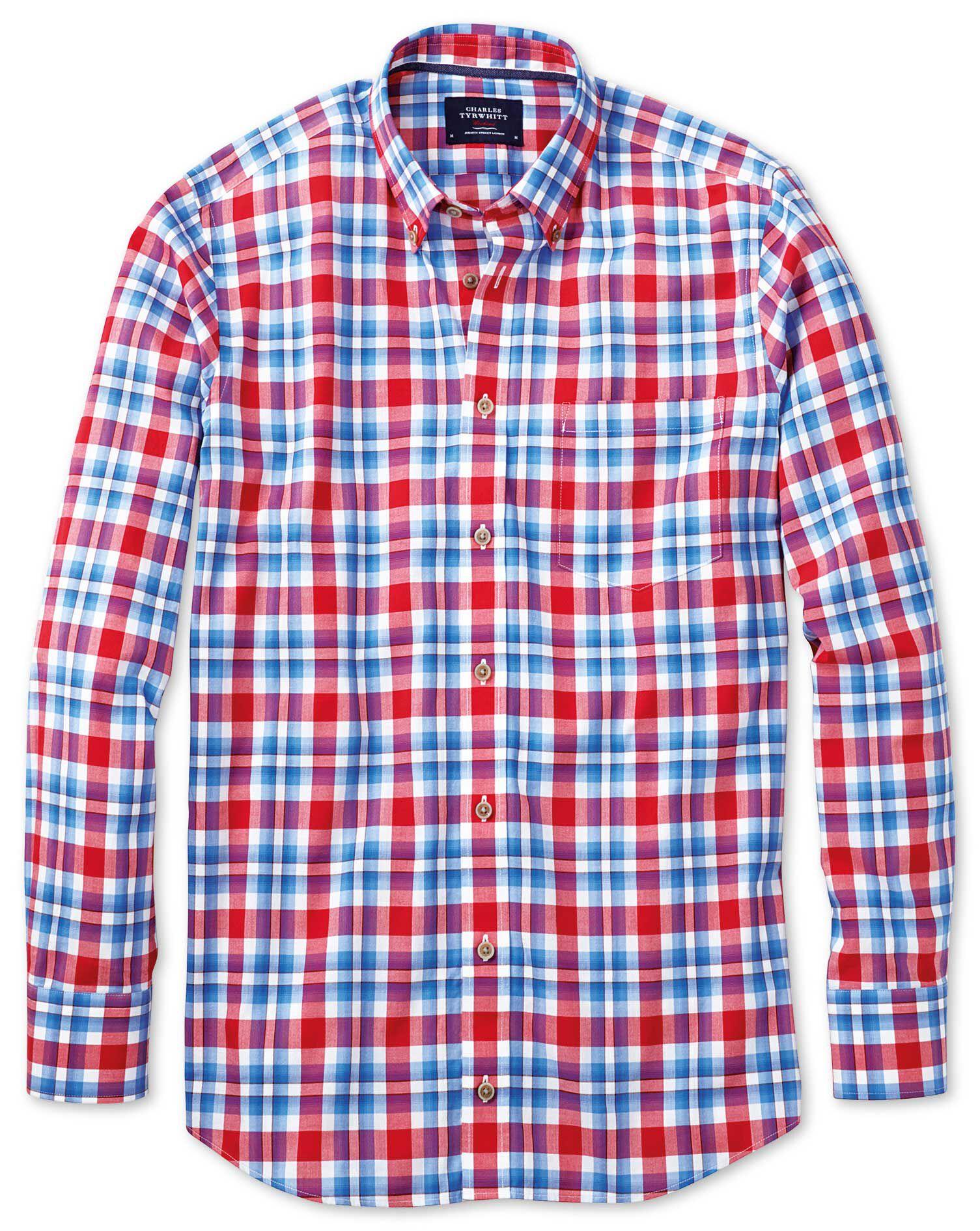 Slim Fit Poplin Sky Blue and Red Check Cotton Shirt Single Cuff Size Medium by Charles Tyrwhitt