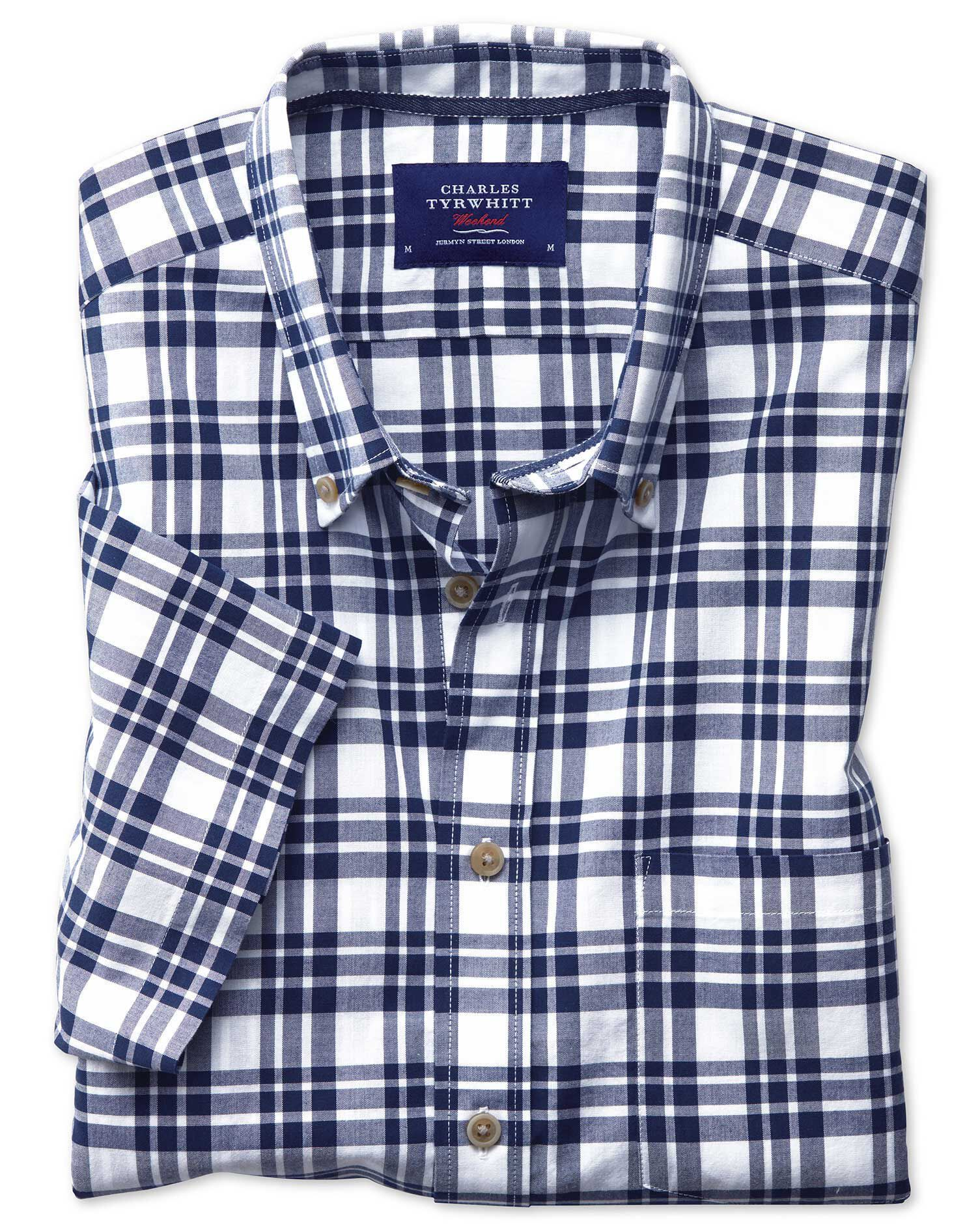 Slim Fit Button-Down Poplin Short Sleeve Navy Blue Check Cotton Shirt Single Cuff Size Medium by Cha