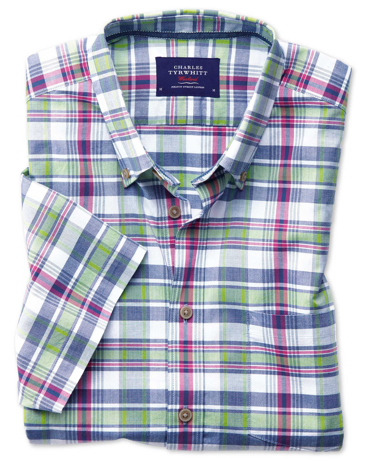 Slim Fit Poplin Short Sleeve Pink and Green Check Cotton Shirt Single Cuff Size XS by Charles Tyrwhi